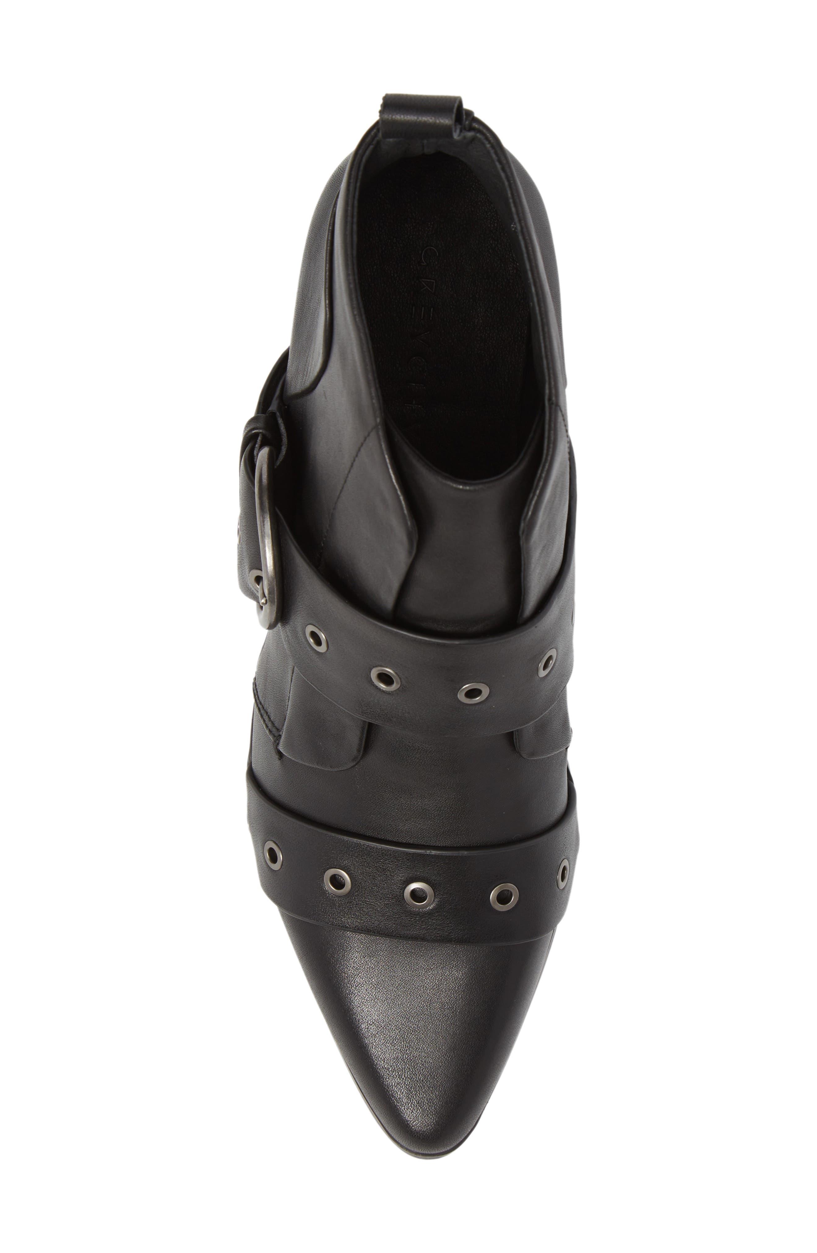 Buckle Strap Bootie,                             Alternate thumbnail 5, color,                             Black Leather