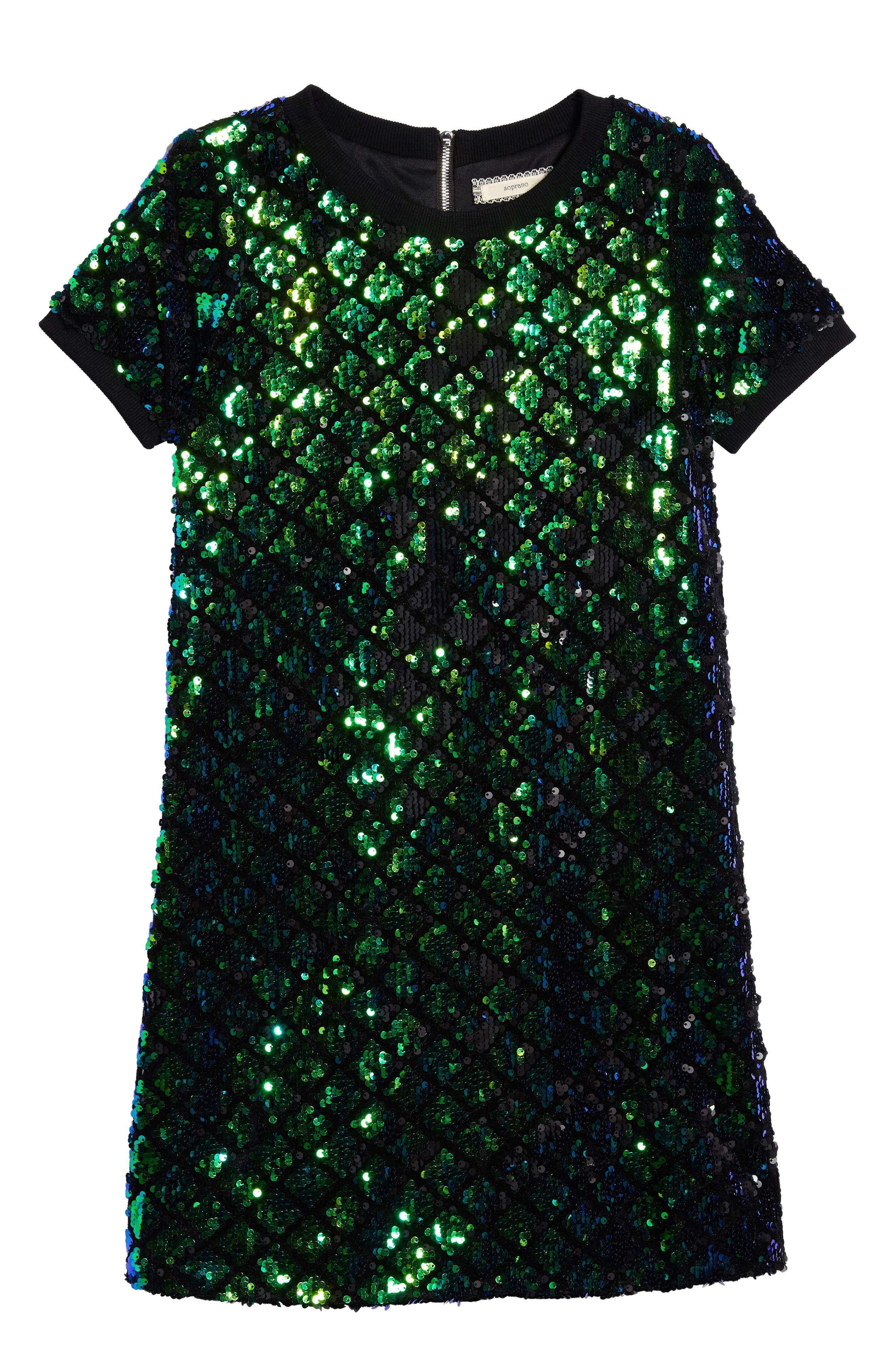 Main Image - Soprano Mermaid Sequin Shift Dress (Big Girls)
