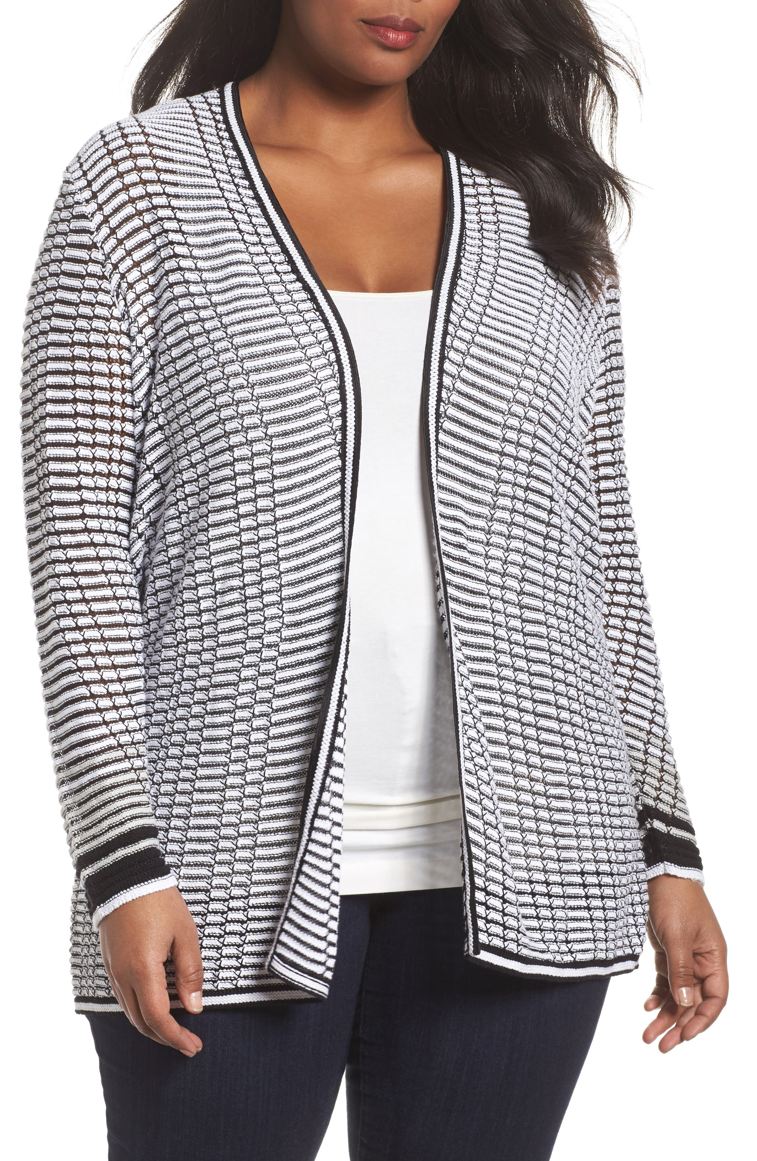 Alternate Image 1 Selected - NIC+ZOE Striped Space Cardigan (Plus Size)