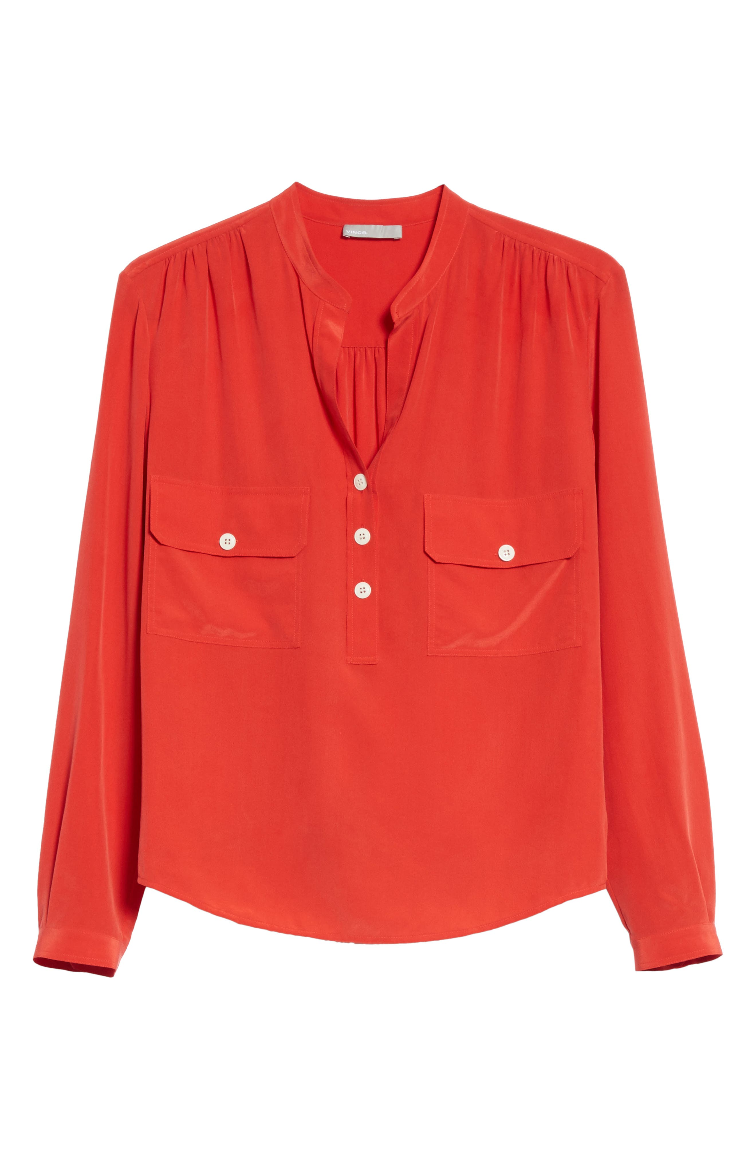 Utility Silk Blouse,                             Alternate thumbnail 7, color,                             Poppy