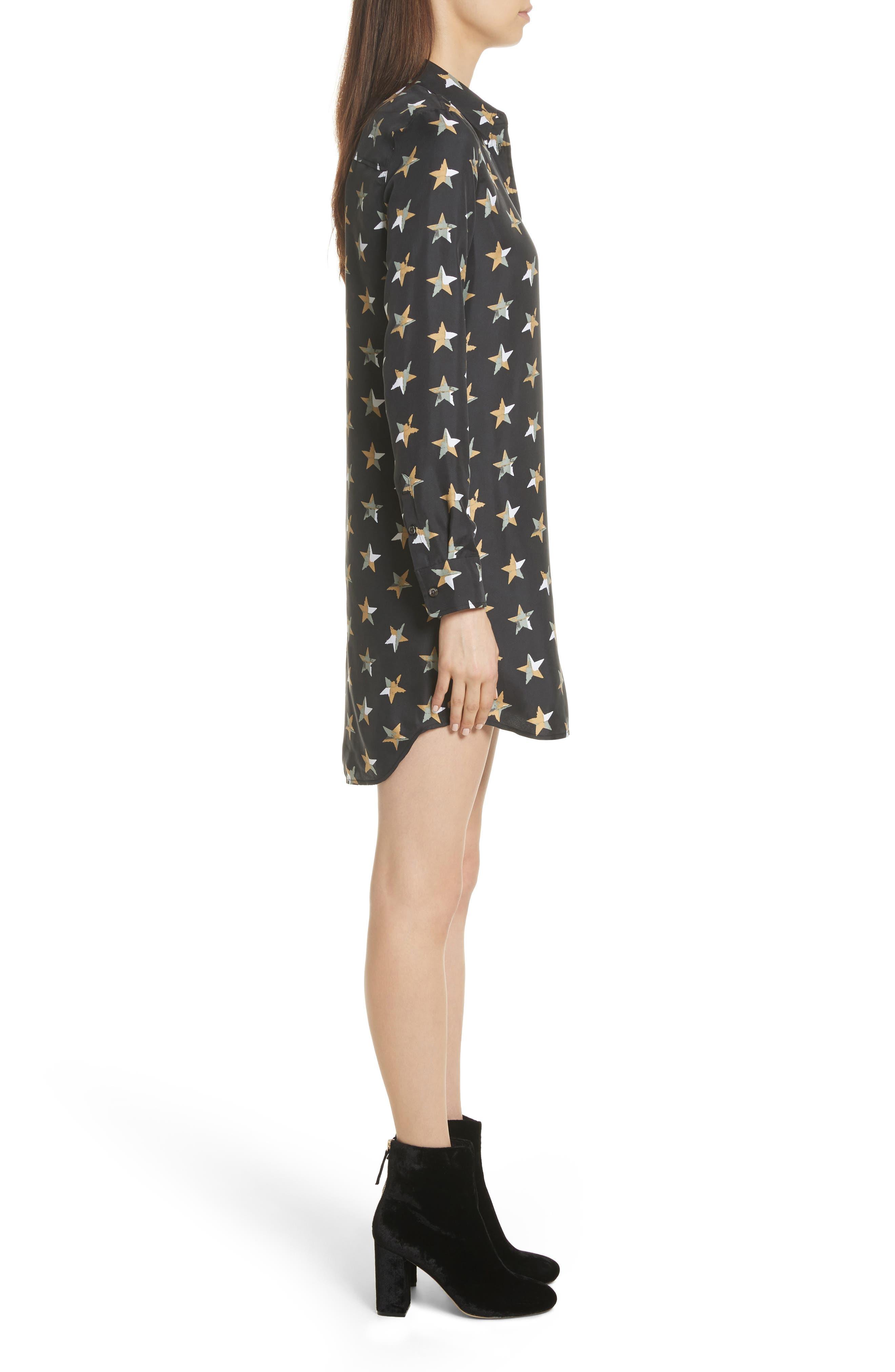 Brett Star Print Silk Shirtdress,                             Alternate thumbnail 3, color,                             True Black Multi