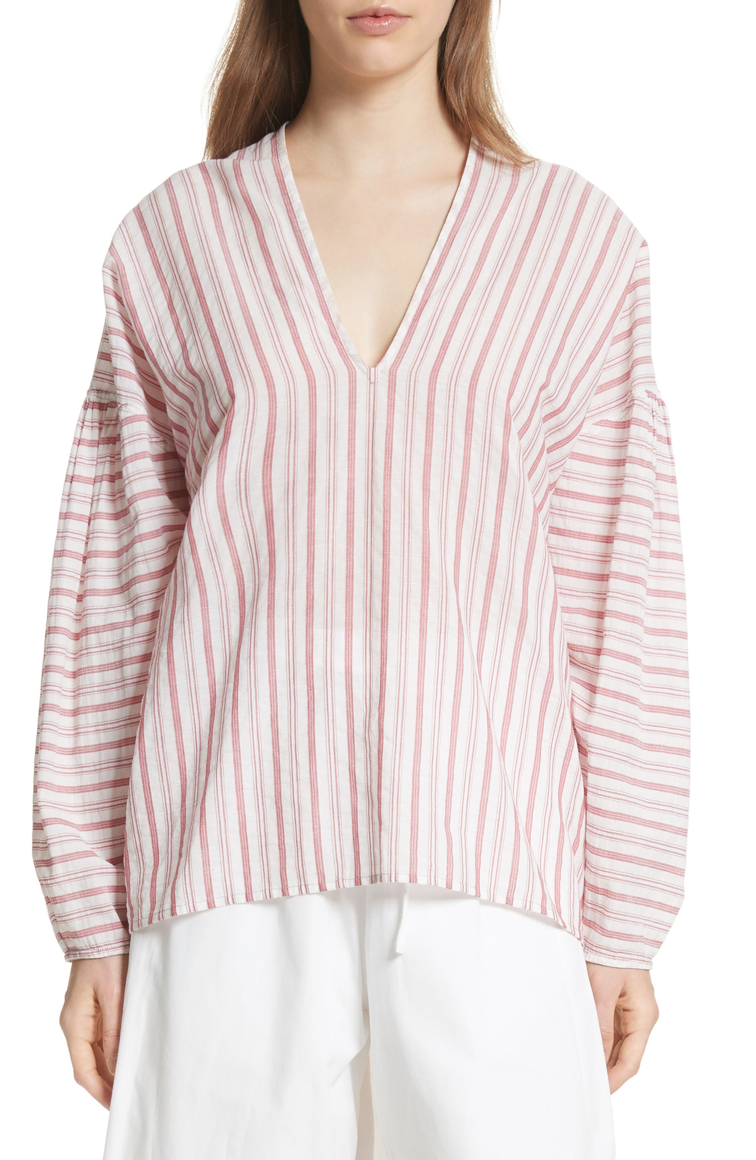 Stripe Cotton Top,                         Main,                         color, Off White/ Poppy