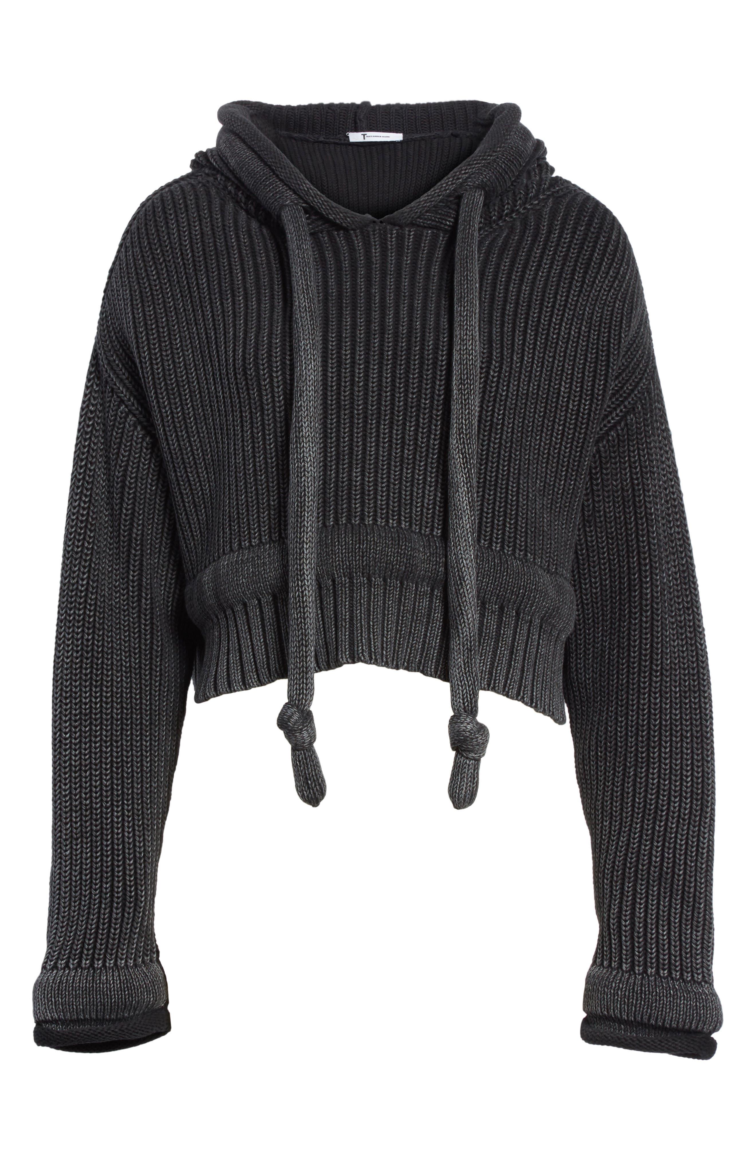 Chunky Knit Hoodie,                             Alternate thumbnail 7, color,                             Black Acid Wash