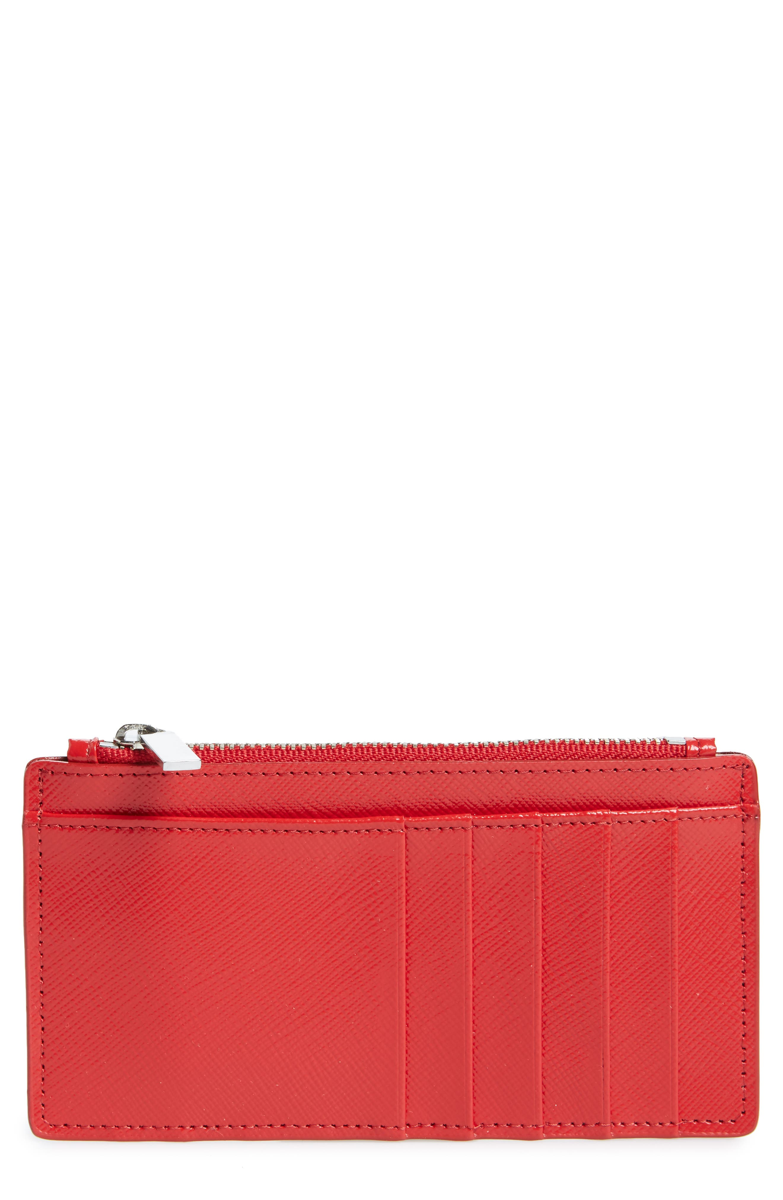 Leather Card Case,                             Main thumbnail 1, color,                             Red Ribbon