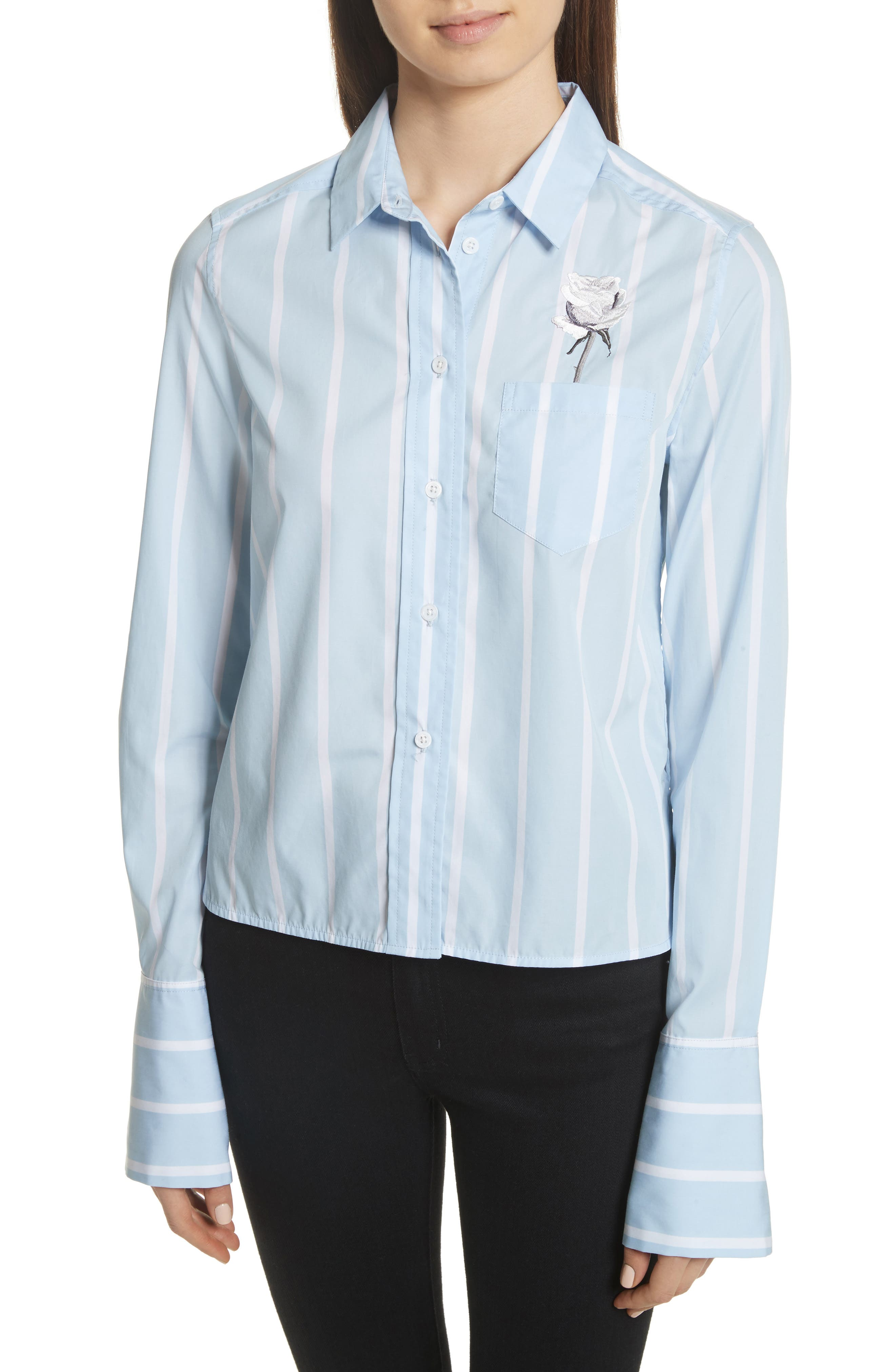 Huntley Embroidered Stripe Cotton Shirt,                             Main thumbnail 1, color,                             Skylight / Bright White