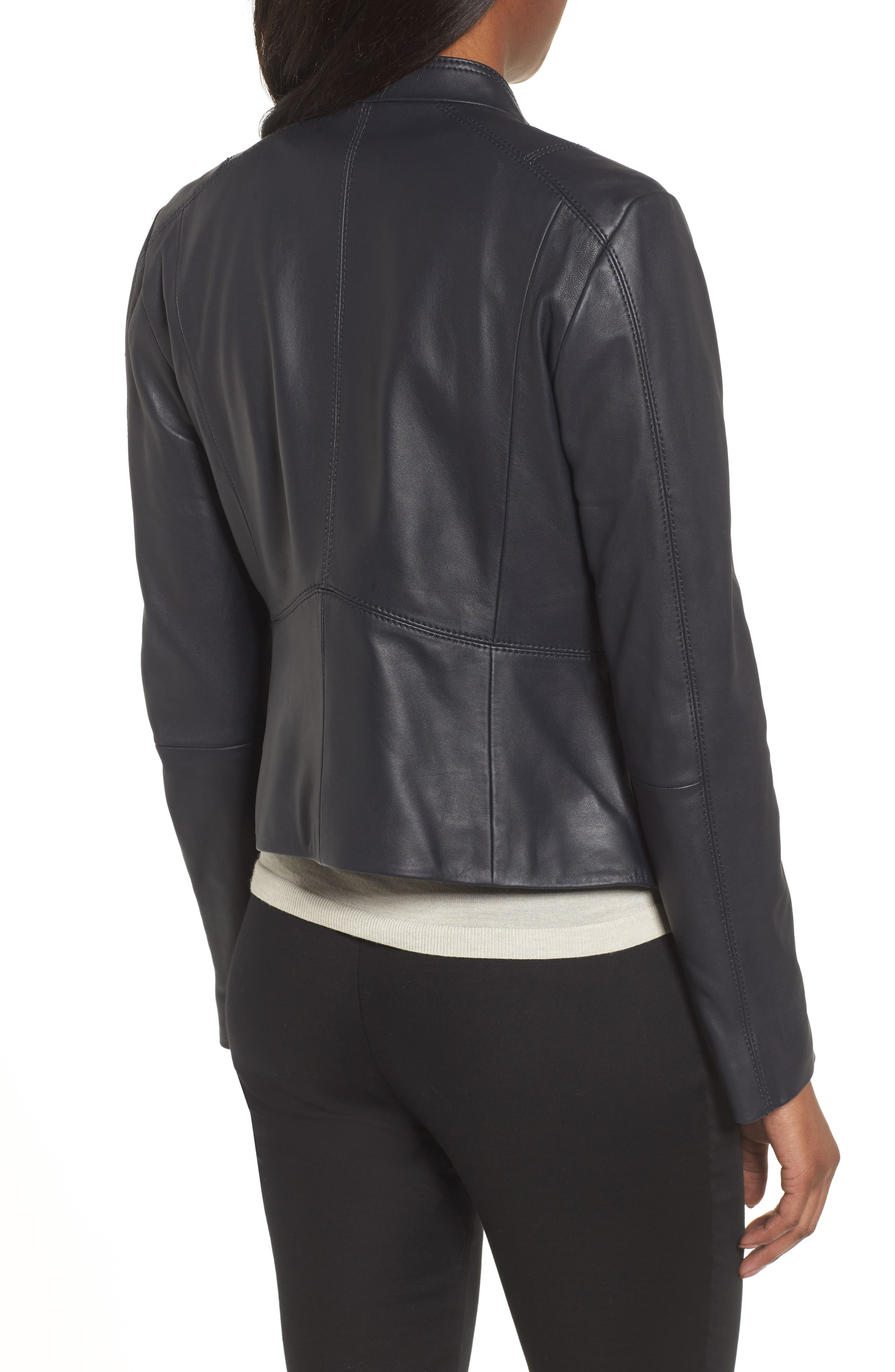 Sammonaie Leather Jacket,                             Alternate thumbnail 2, color,                             Navy