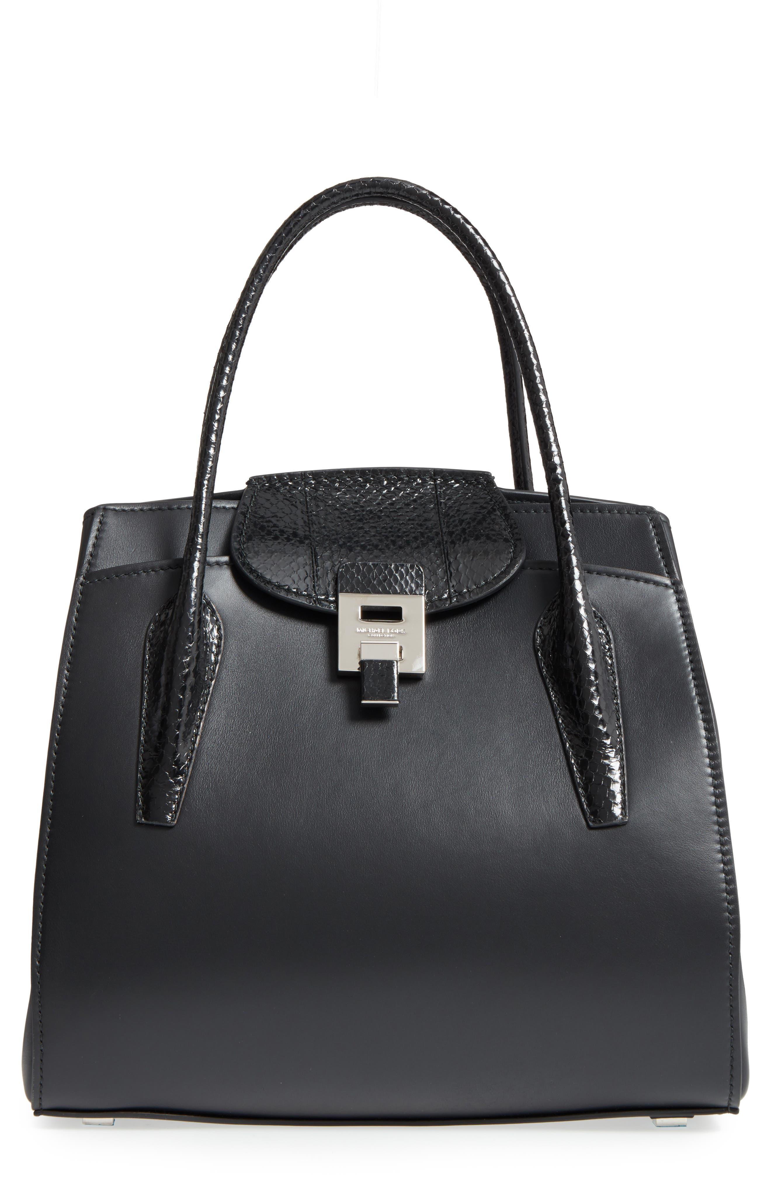 Large Bancroft Leather Top Handle Satchel,                             Main thumbnail 1, color,                             Black