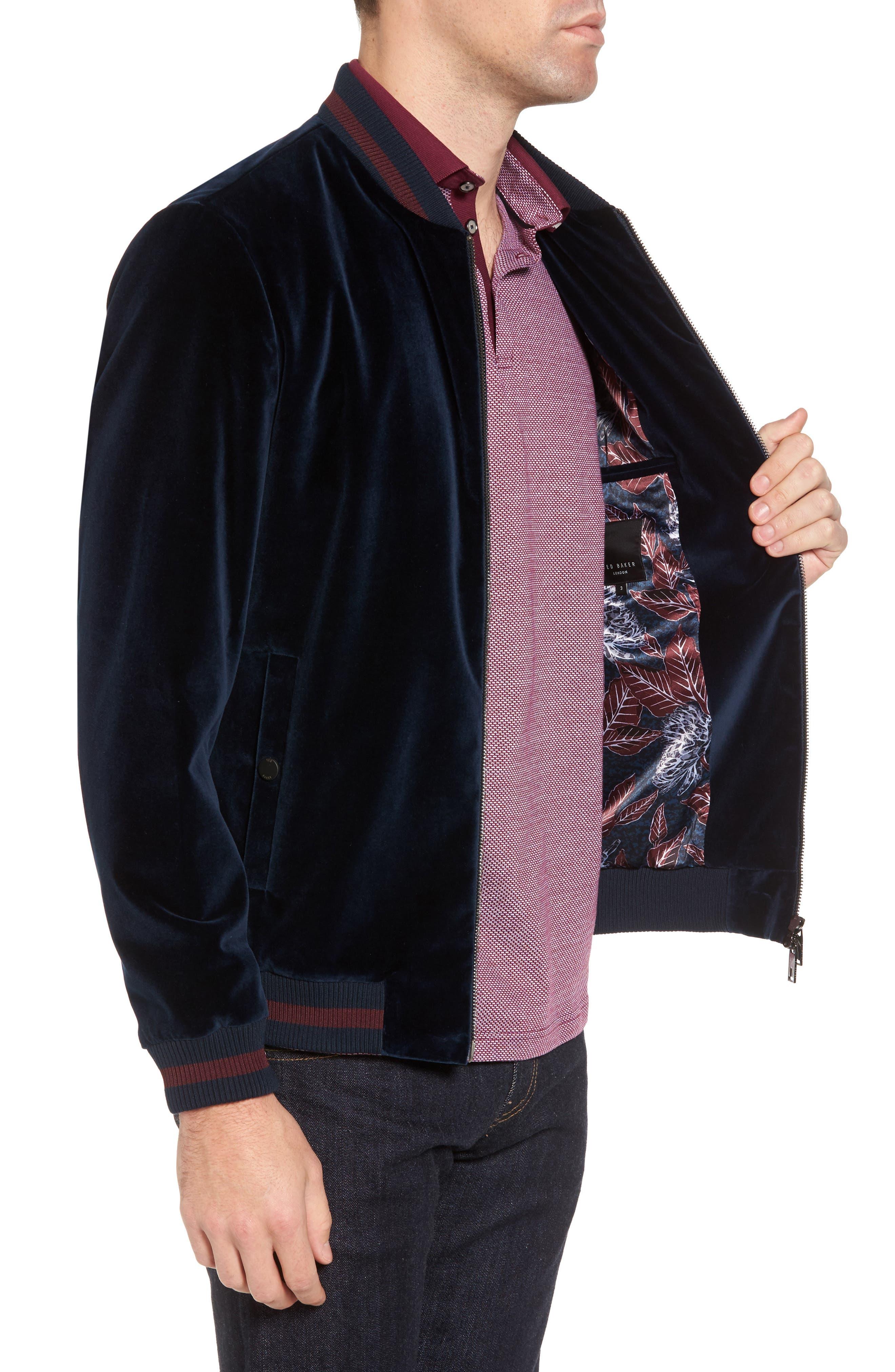 Haydon Velvet Bomber Jacket,                             Alternate thumbnail 3, color,                             Teal