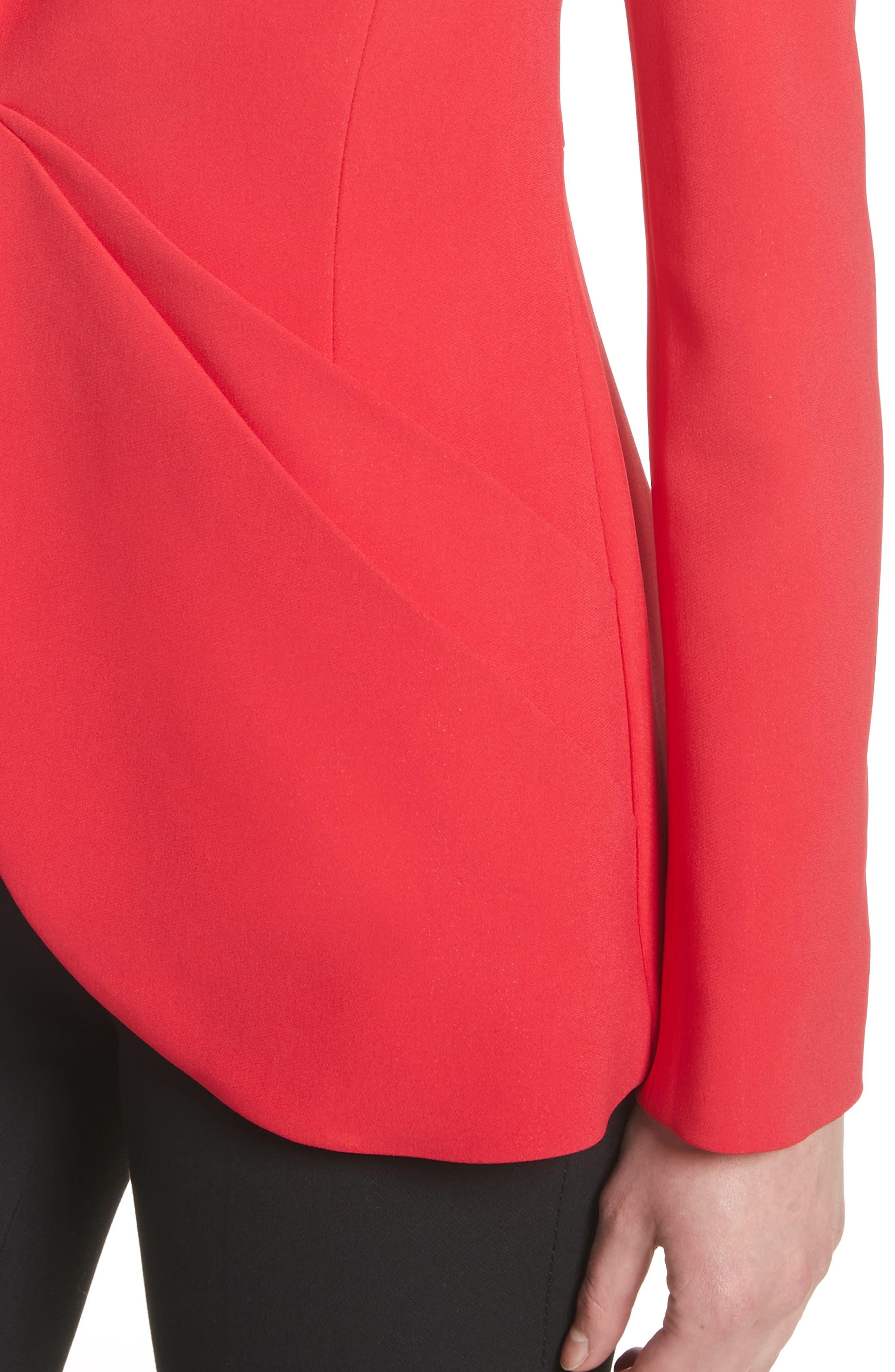 Drape Pocket Crepe Jacket,                             Alternate thumbnail 4, color,                             Red