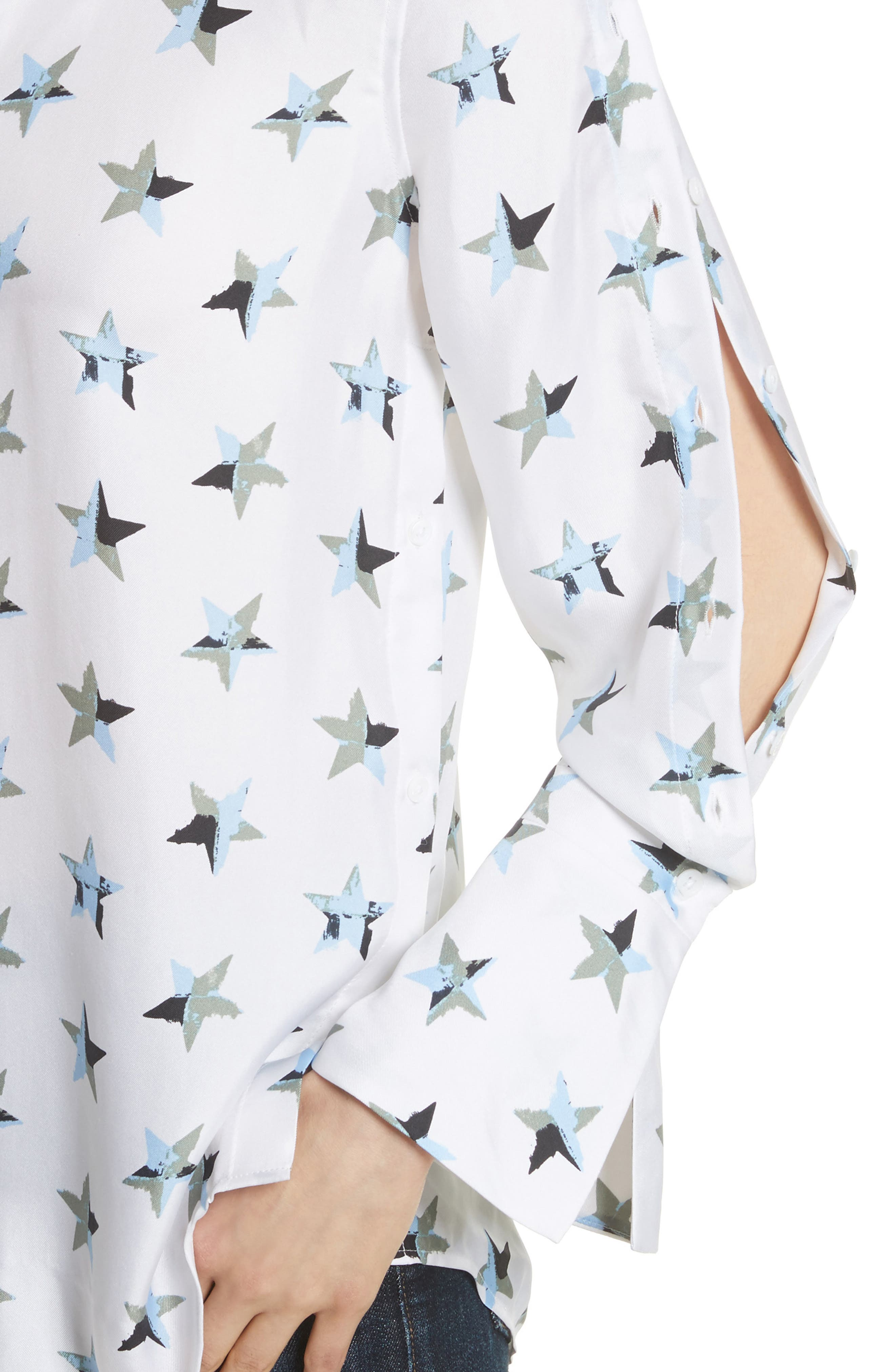 Rossi Button Detail Star Print Silk Shirt,                             Alternate thumbnail 4, color,                             Bright White Multi