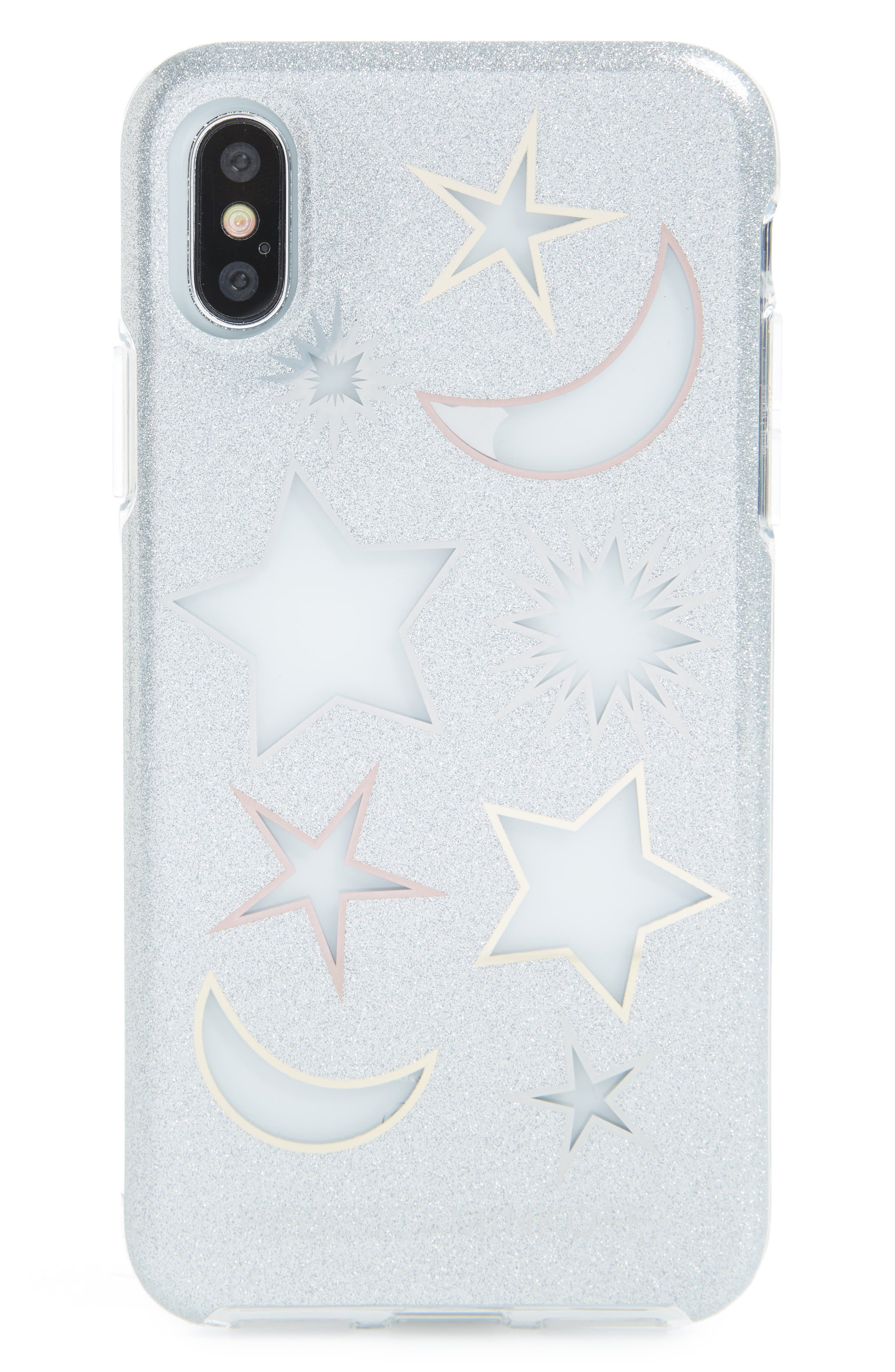 Double Up iPhone X Case,                             Main thumbnail 1, color,                             Glitter/ Clear/ Metallic