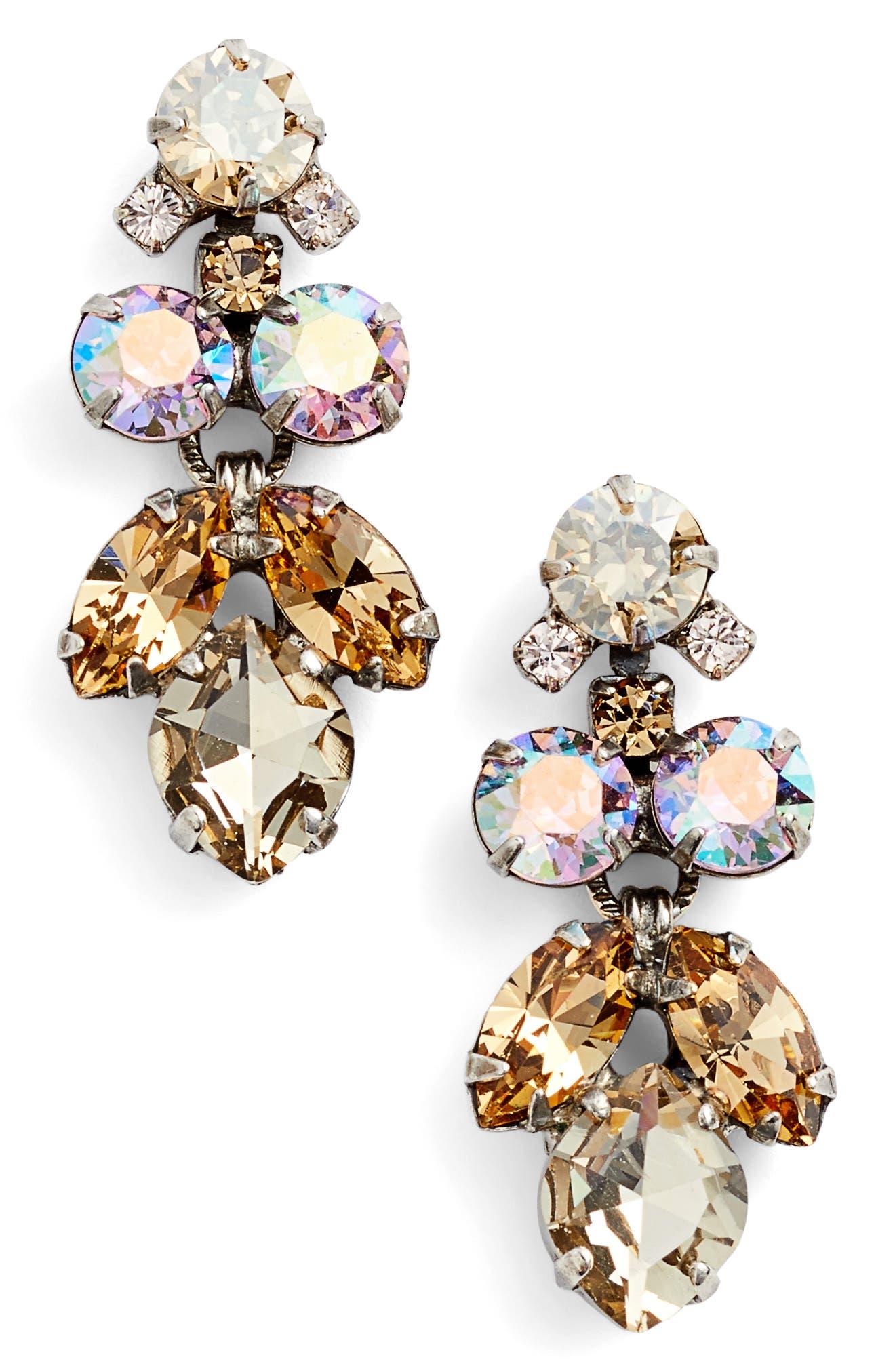 Petite Crystal Lotus Flower Drop Earrings,                         Main,                         color, Tan