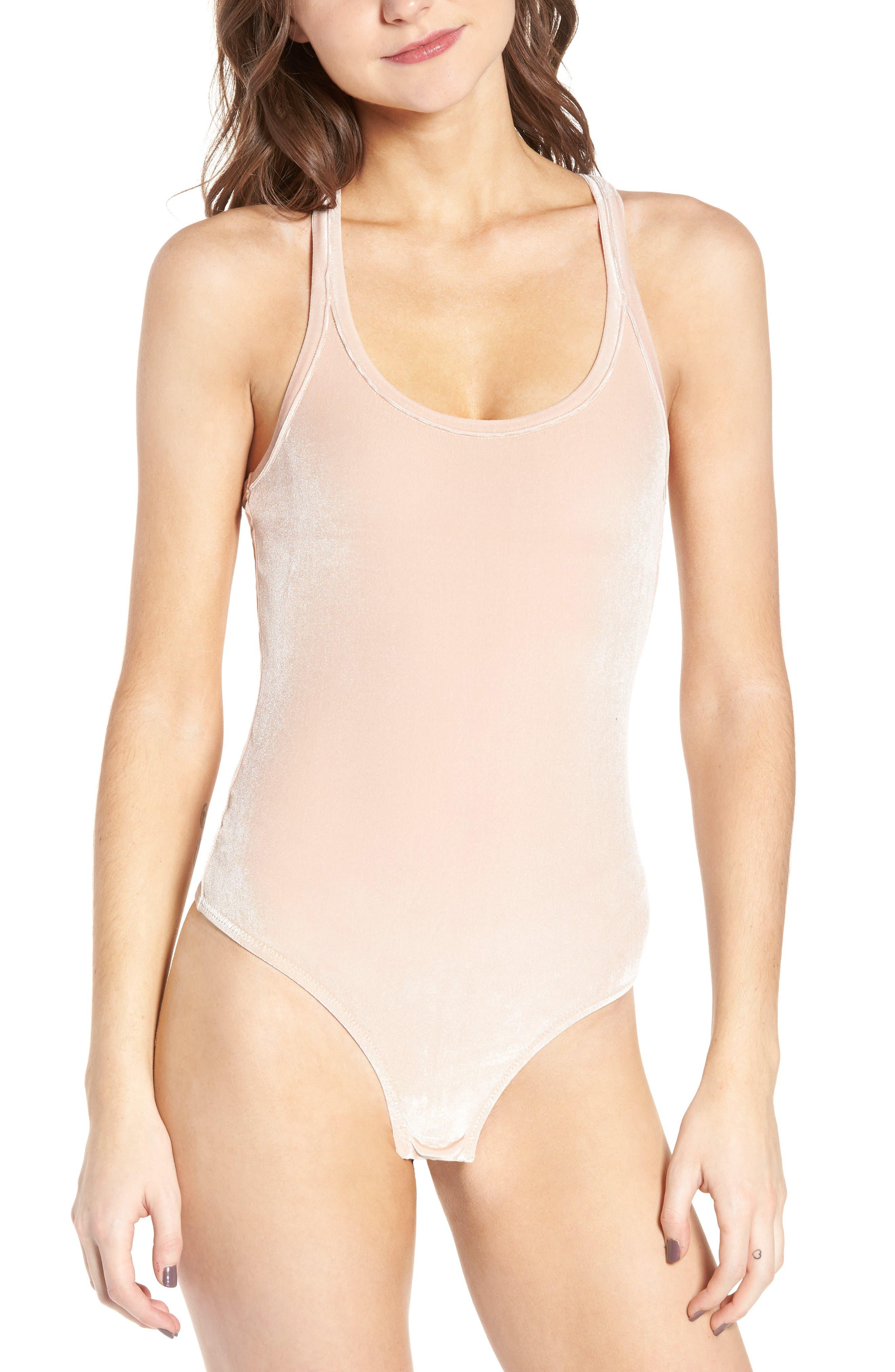 Velvet Racerback Bodysuit,                             Alternate thumbnail 2, color,                             Avalon Pink