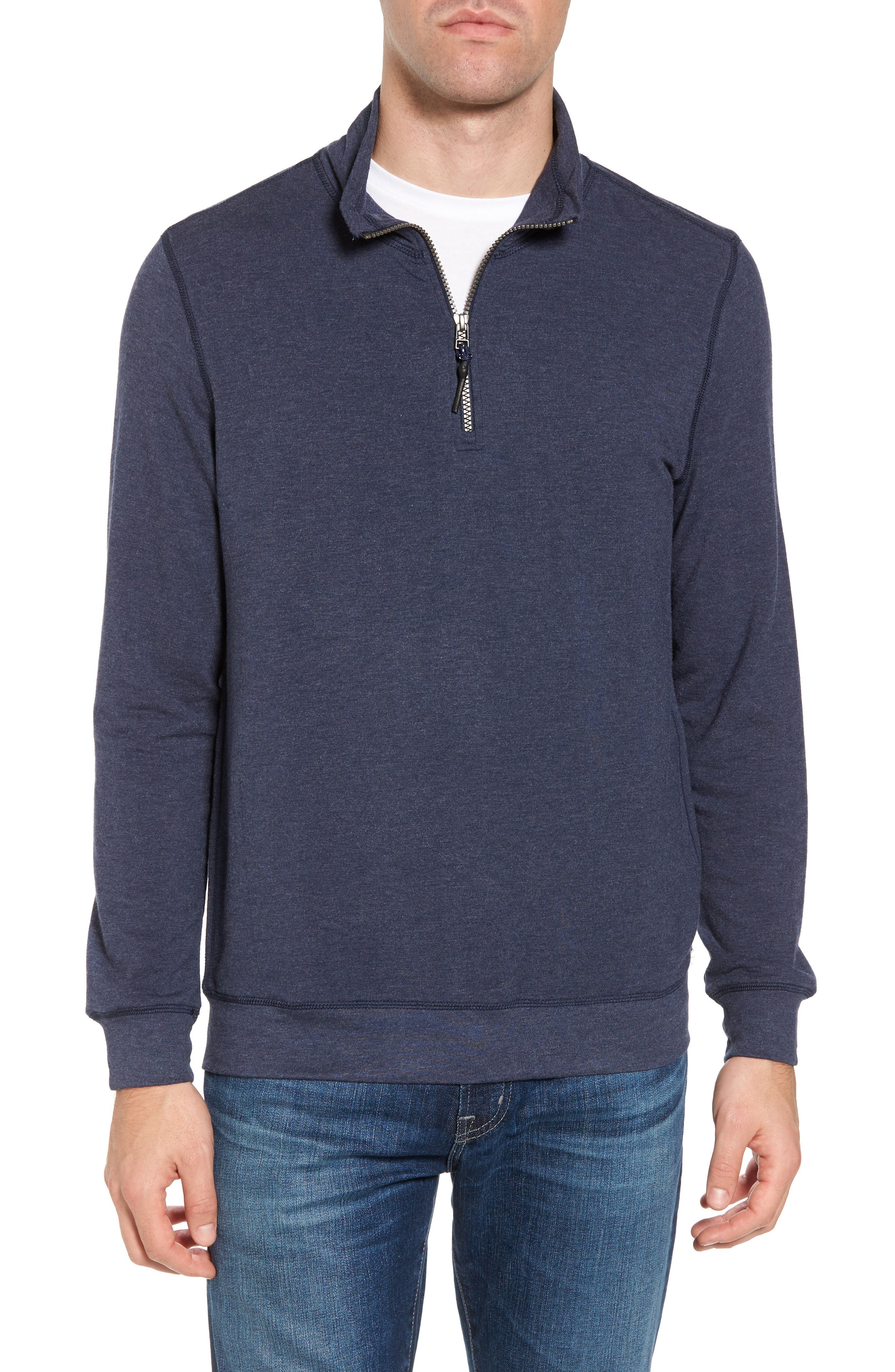 Brushback Quarter Zip Pullover,                         Main,                         color, Navy Heather