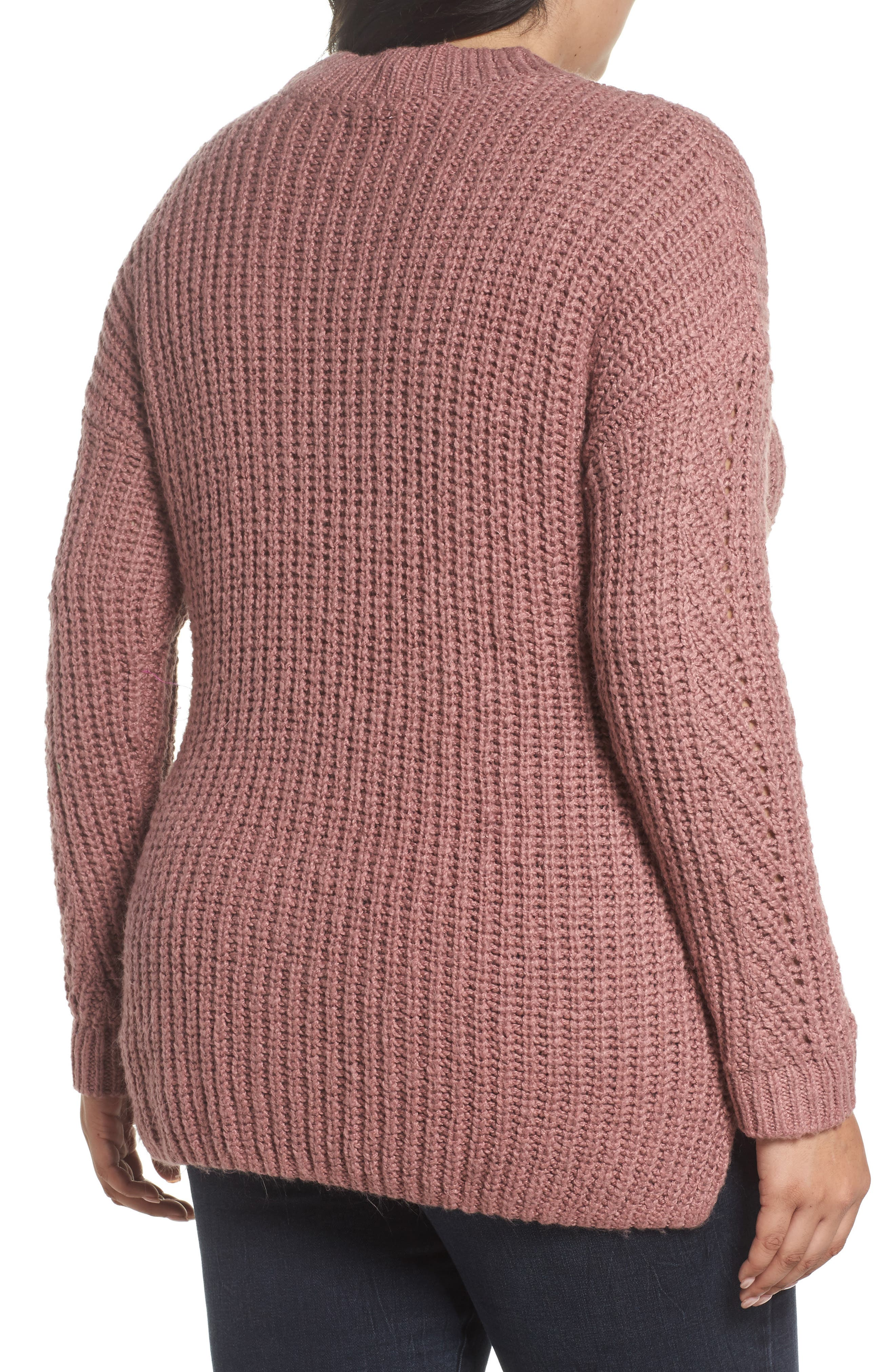 Alternate Image 2  - Lucky Brand Open Stitch Sweater (Plus Size)