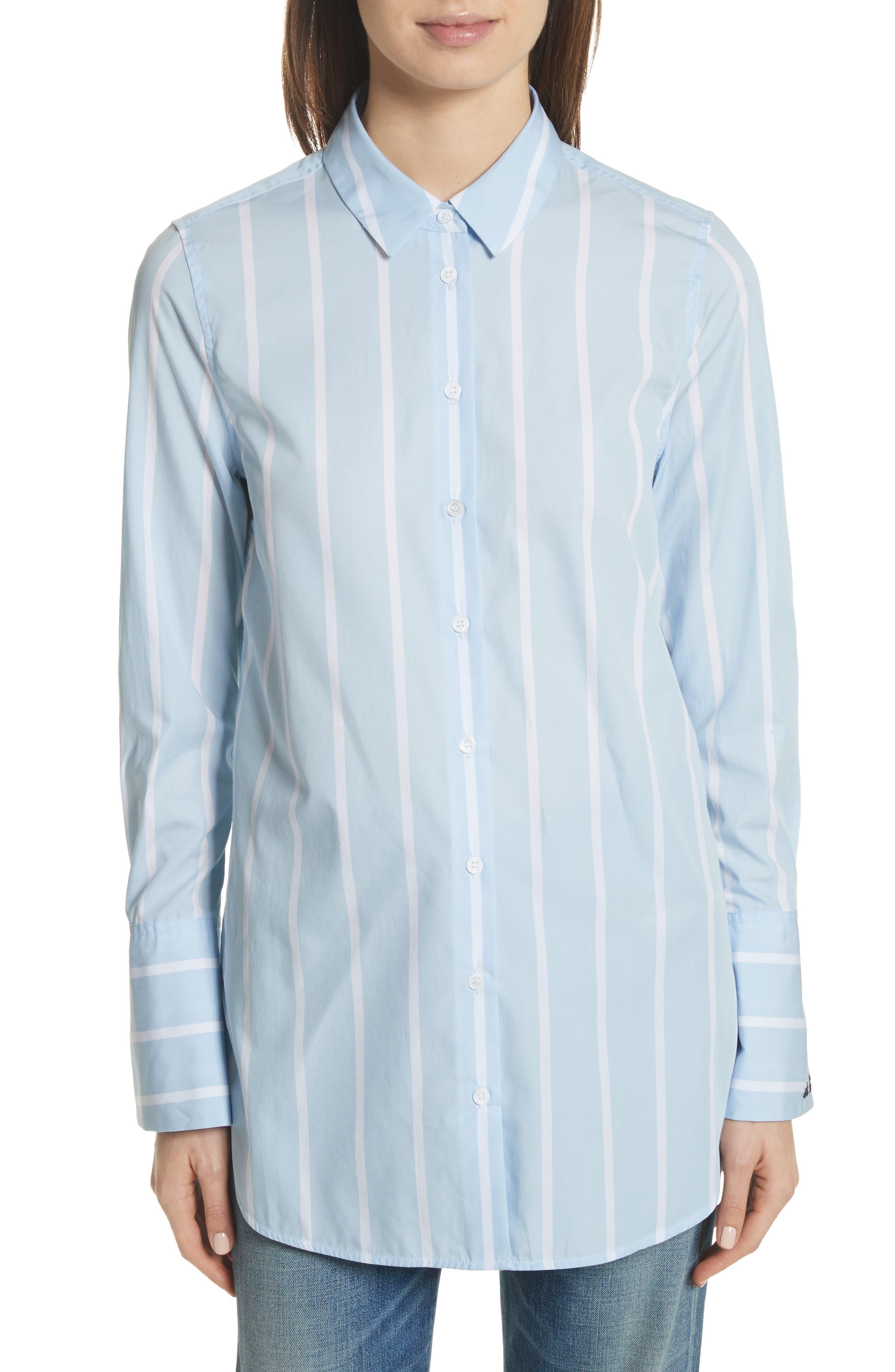 Arlette Stripe Cotton Shirt,                         Main,                         color, Skylight / Bright White