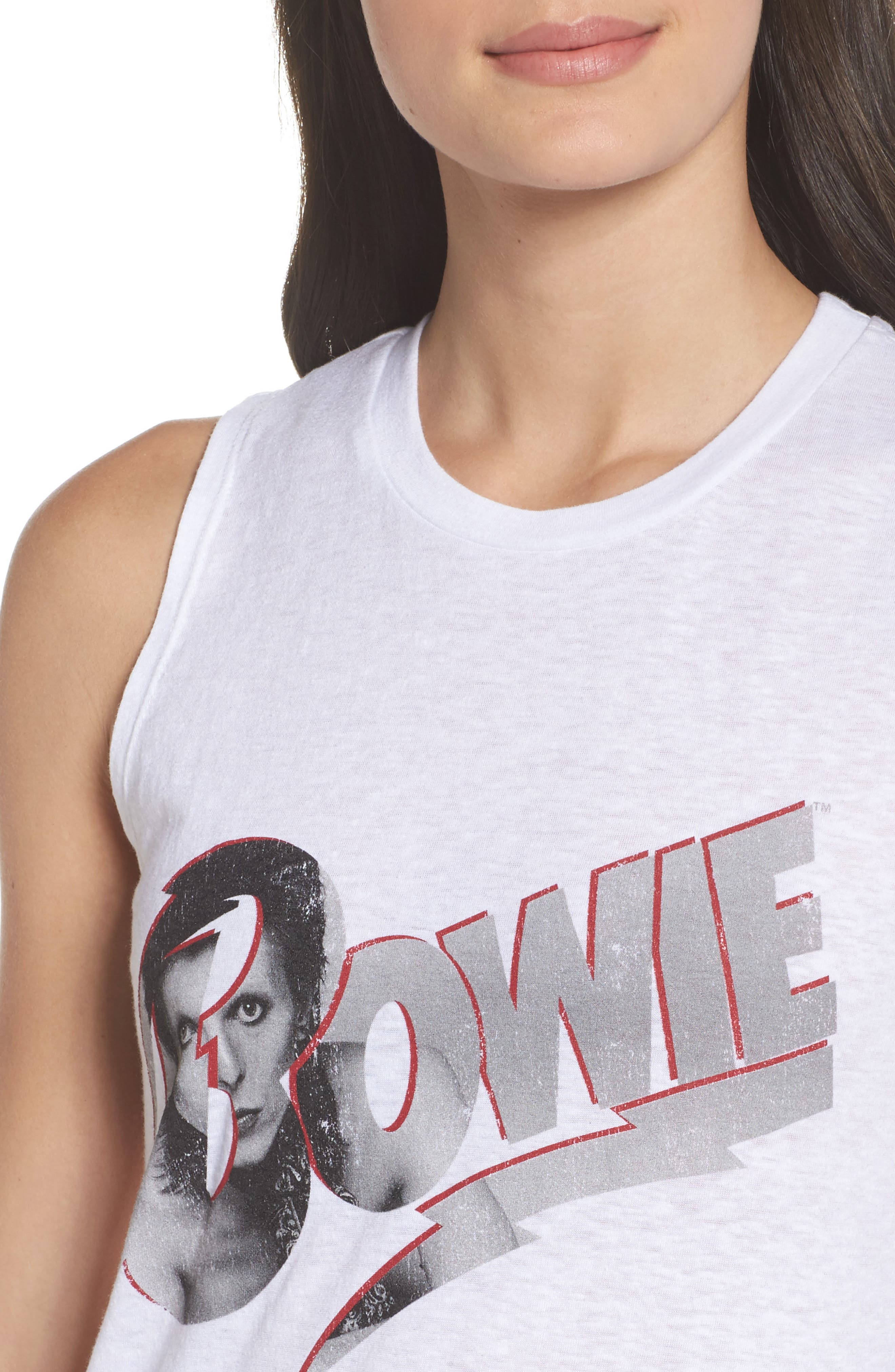 David Bowie High/Low Muscle Tank,                             Alternate thumbnail 5, color,                             White