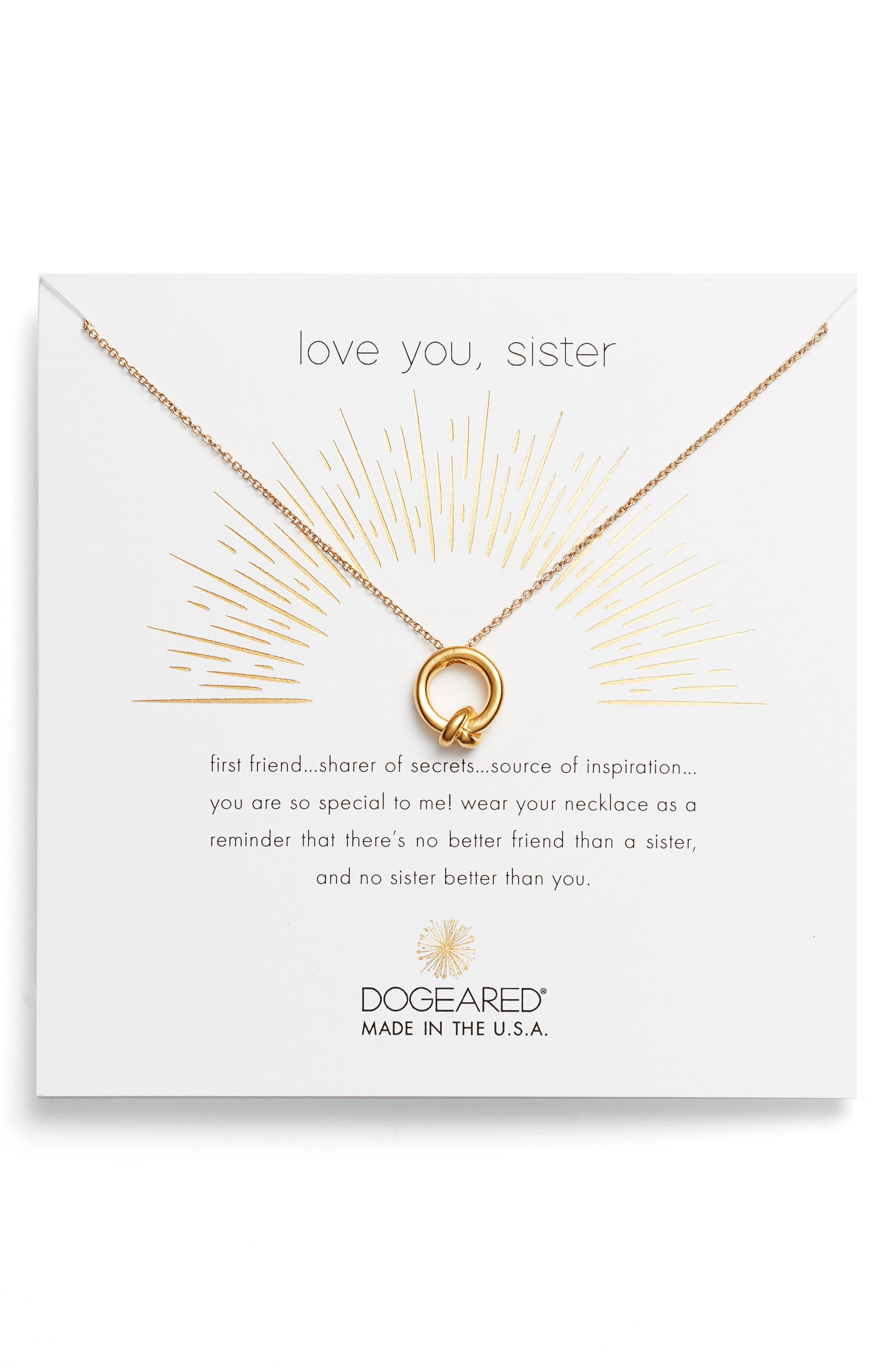 Main Image - Dogeared Love You, Sister Together Knot Pendant Necklace