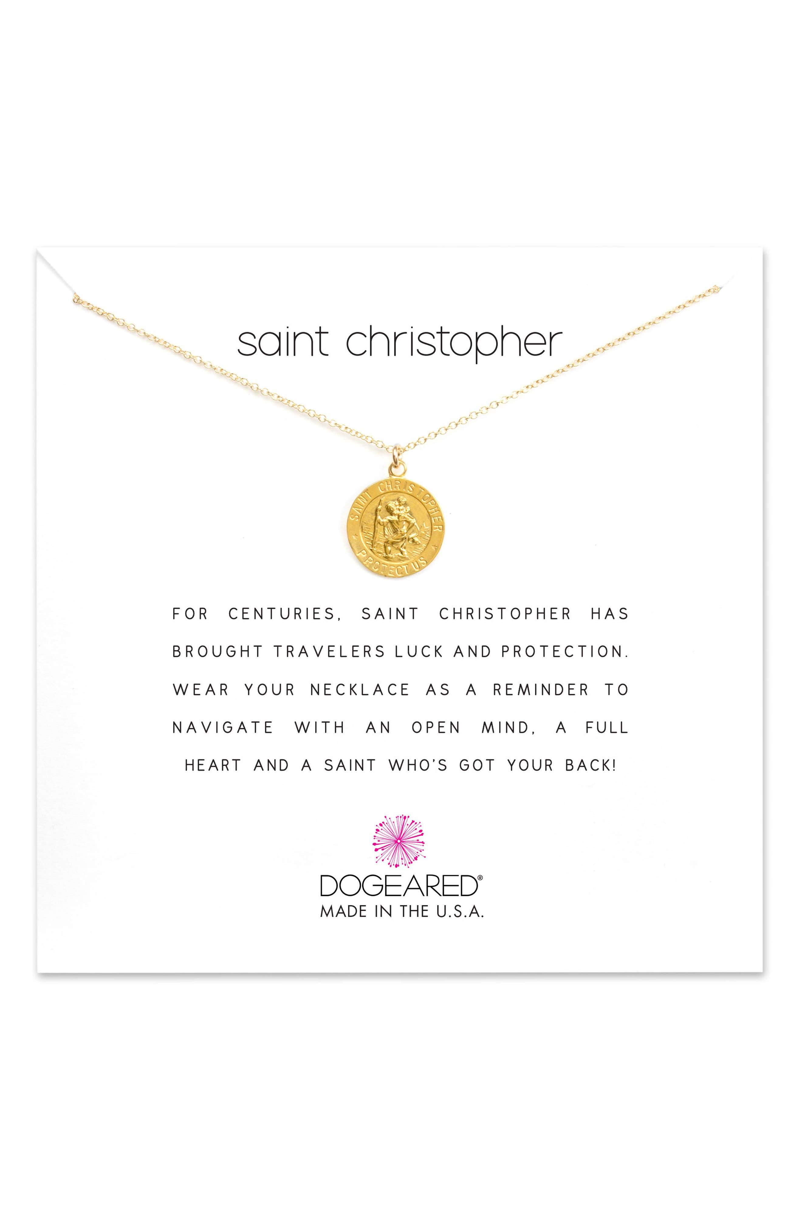 St. Christopher Pendant Necklace,                             Main thumbnail 1, color,                             Gold