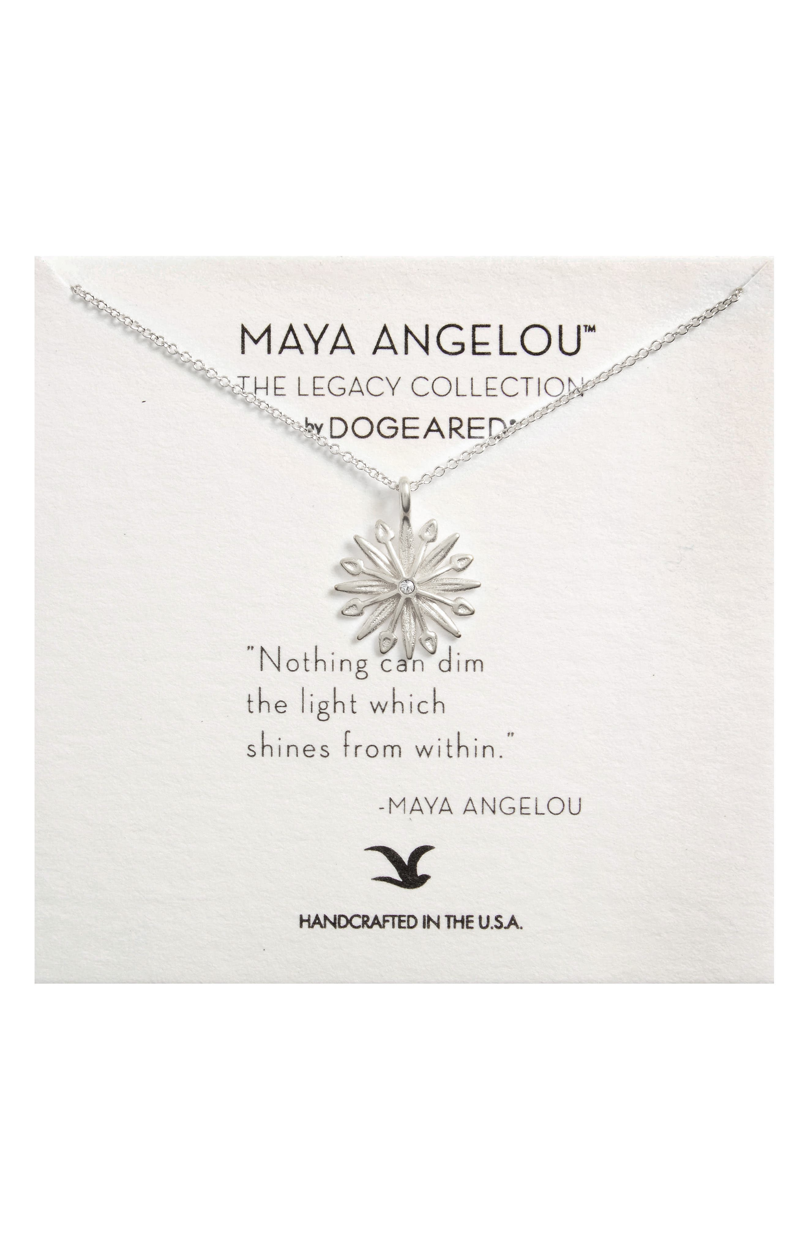 Starburst Charm Pendant Necklace,                         Main,                         color, Silver