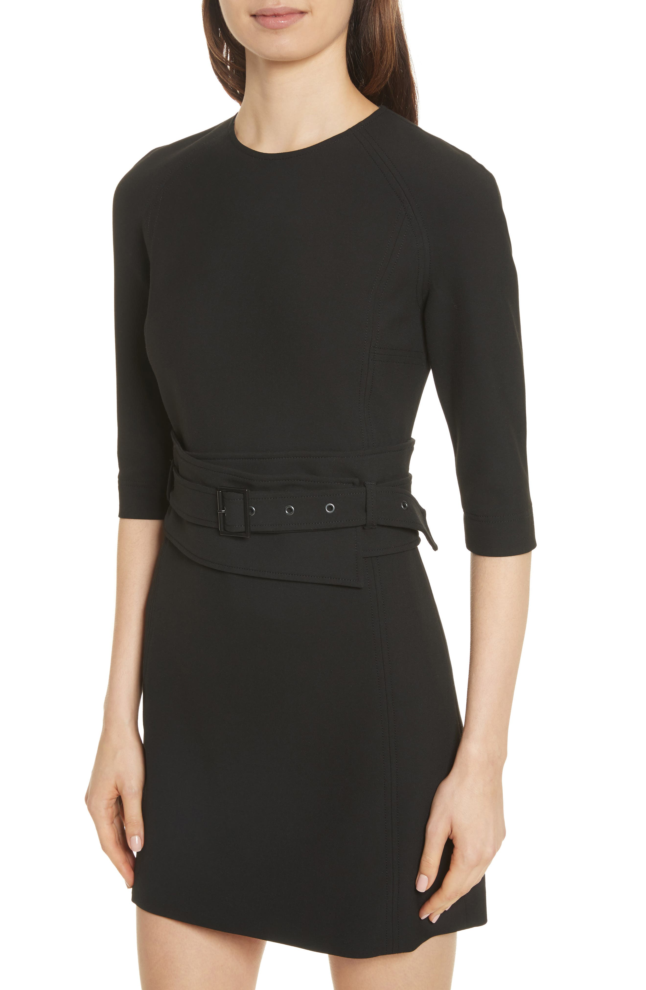 Nora Belted Dress,                             Alternate thumbnail 4, color,                             Black