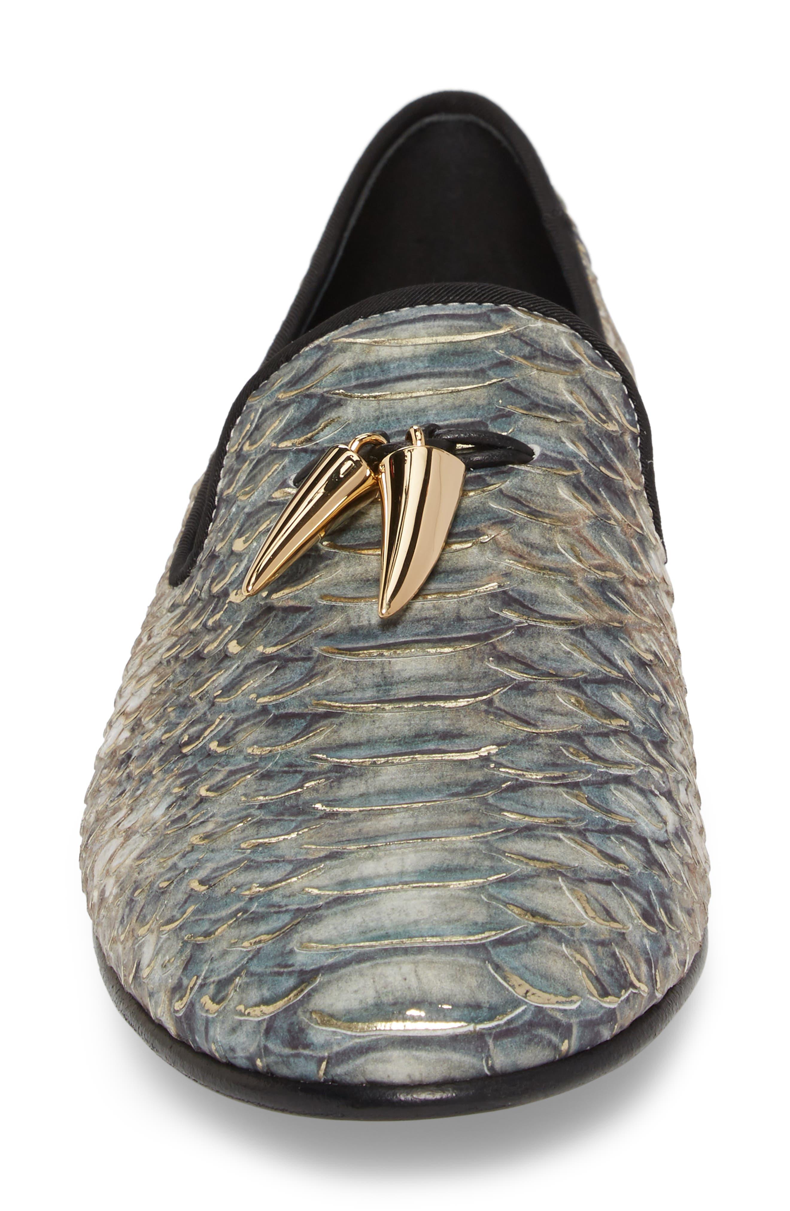 Snake Embossed Loafer,                             Alternate thumbnail 4, color,                             Platinum