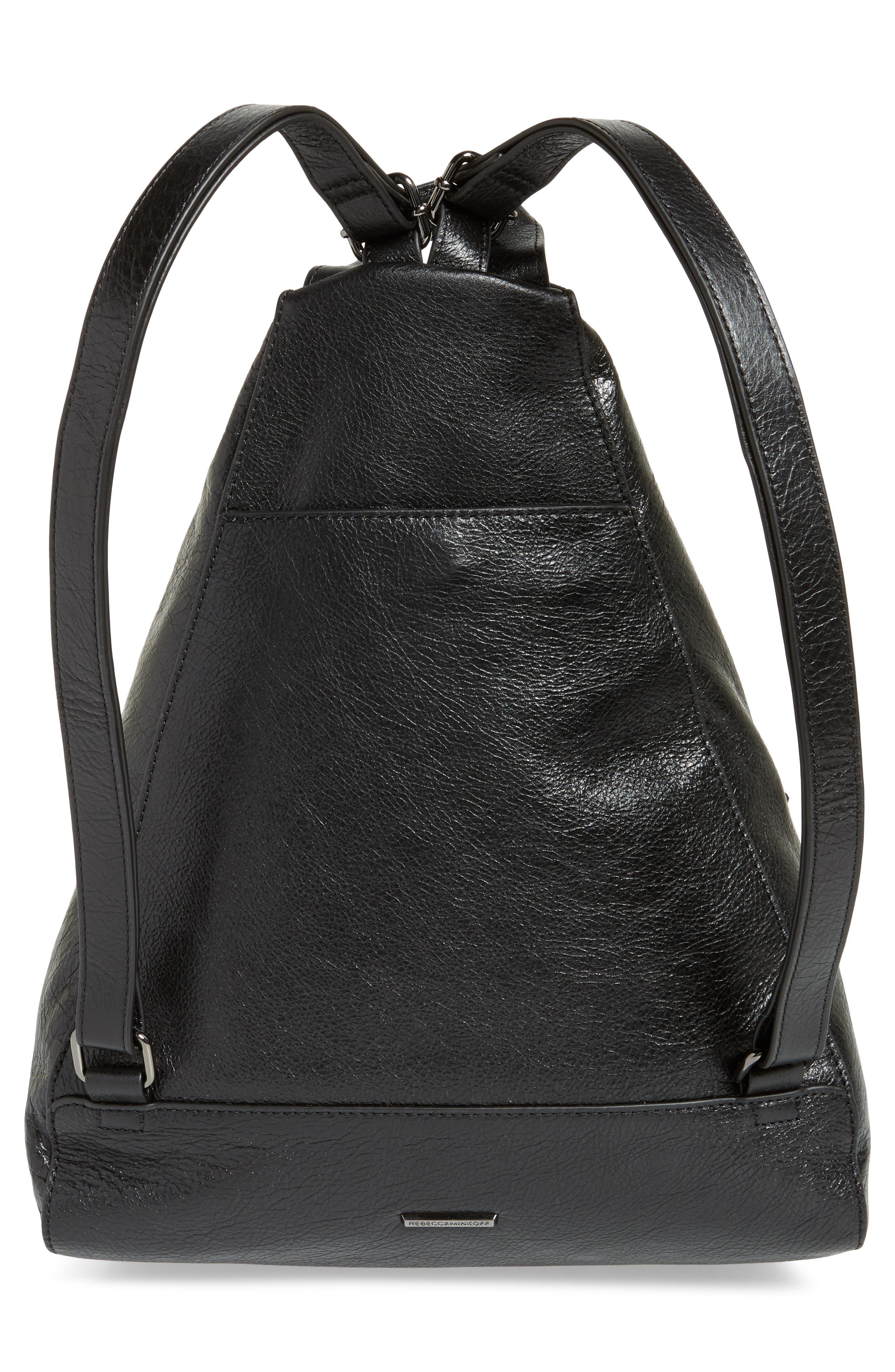 Jamie Leather Backpack,                             Alternate thumbnail 3, color,                             Black