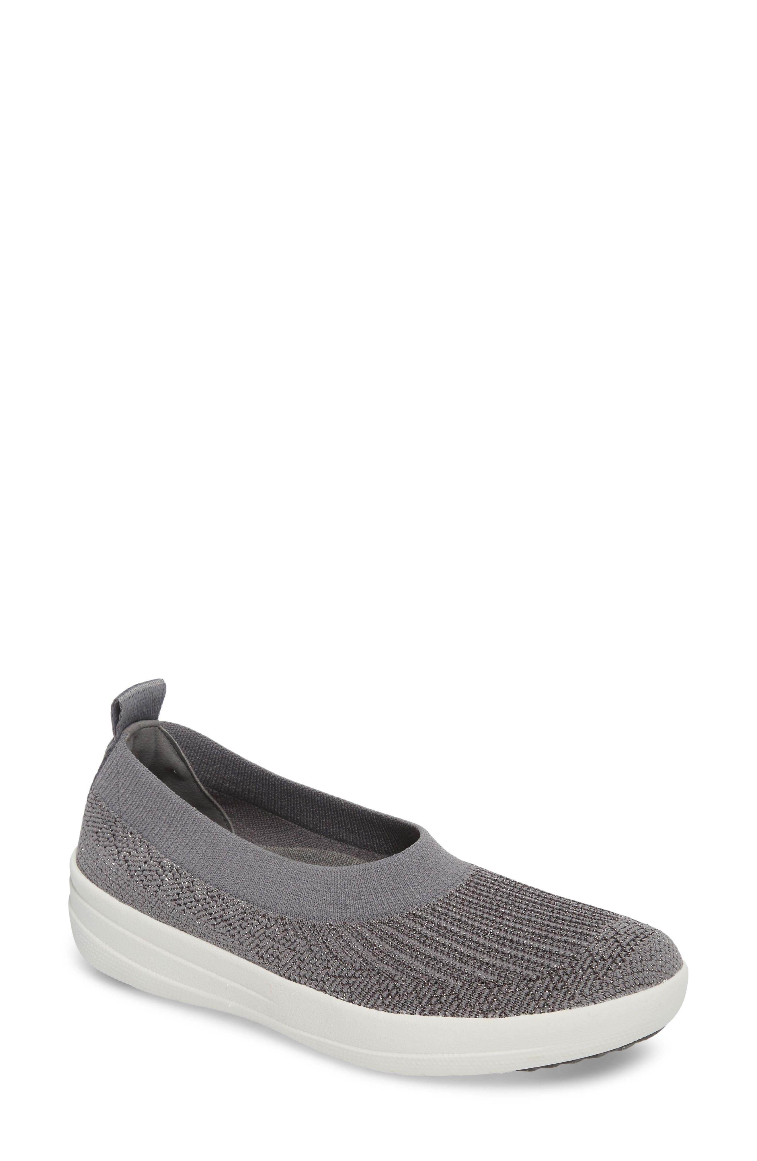 Uberknit<sup>™</sup> Slip-On Ballerina Sneaker,                             Main thumbnail 1, color,                             Charcoal/ Metallic Pewter