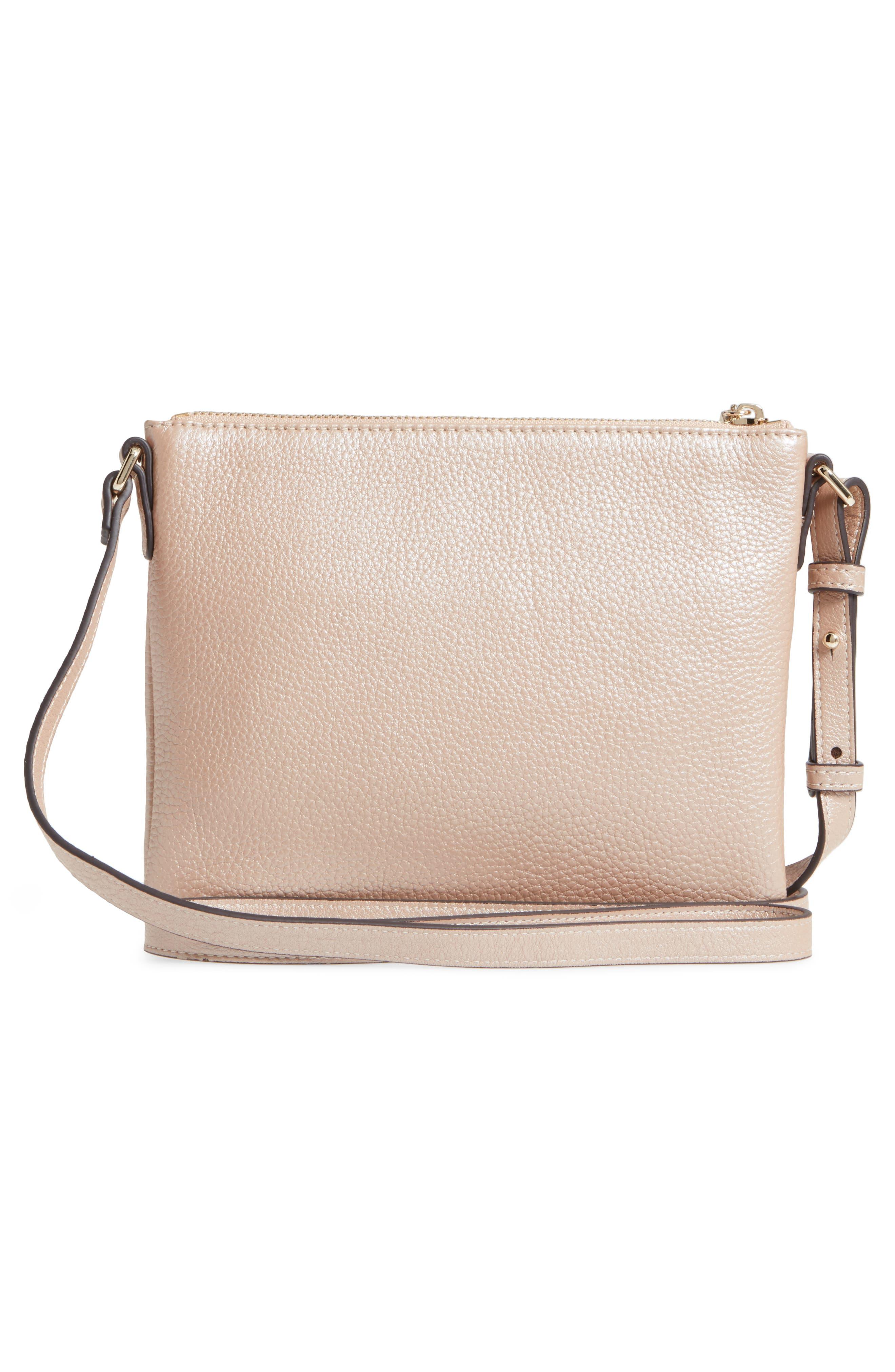 Céline Dion Adagio Leather Crossbody Bag,                             Alternate thumbnail 3, color,                             Rose Gold