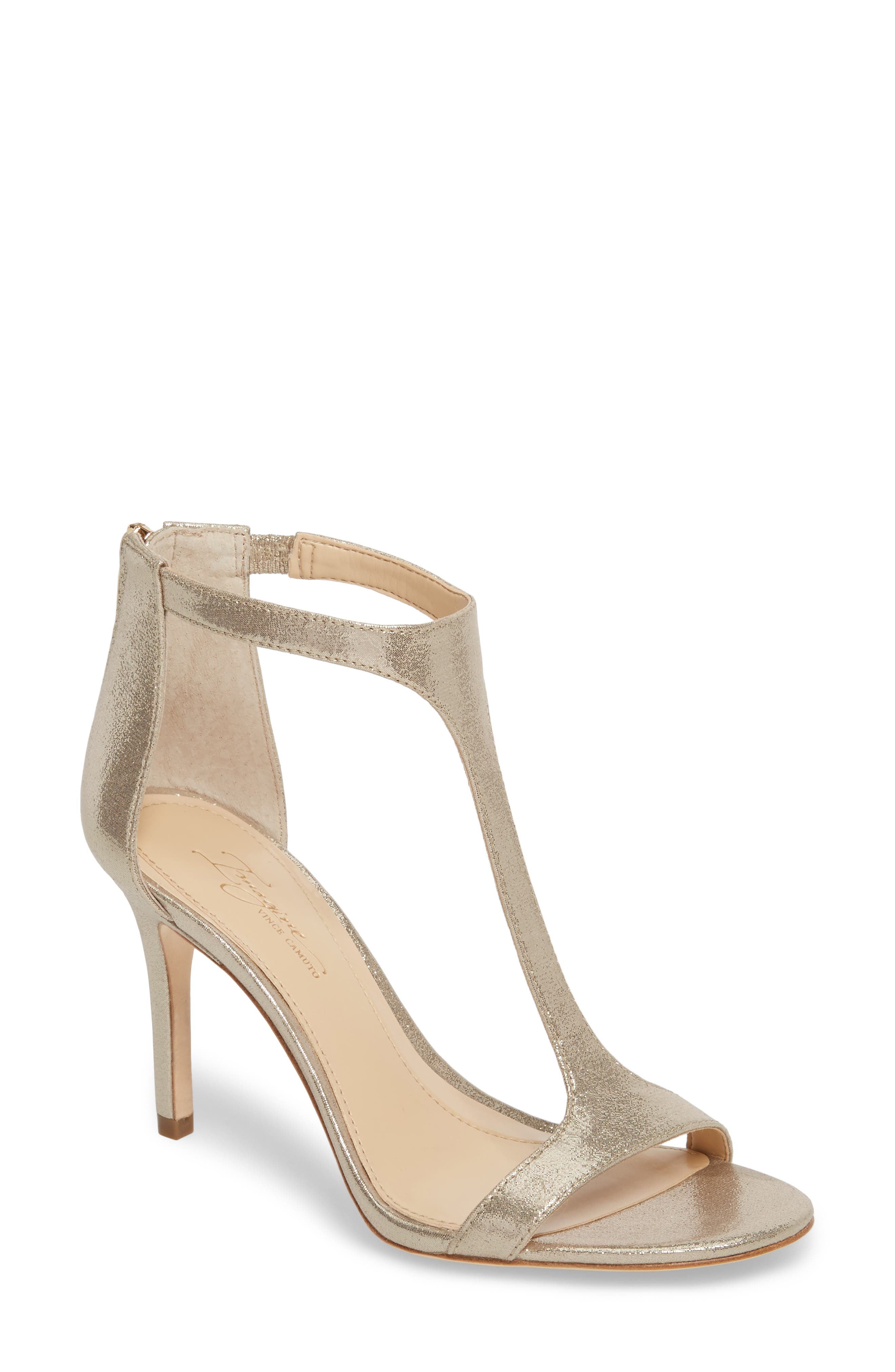 'Phoebe' Embellished T-Strap Sandal,                         Main,                         color, Gold Satin
