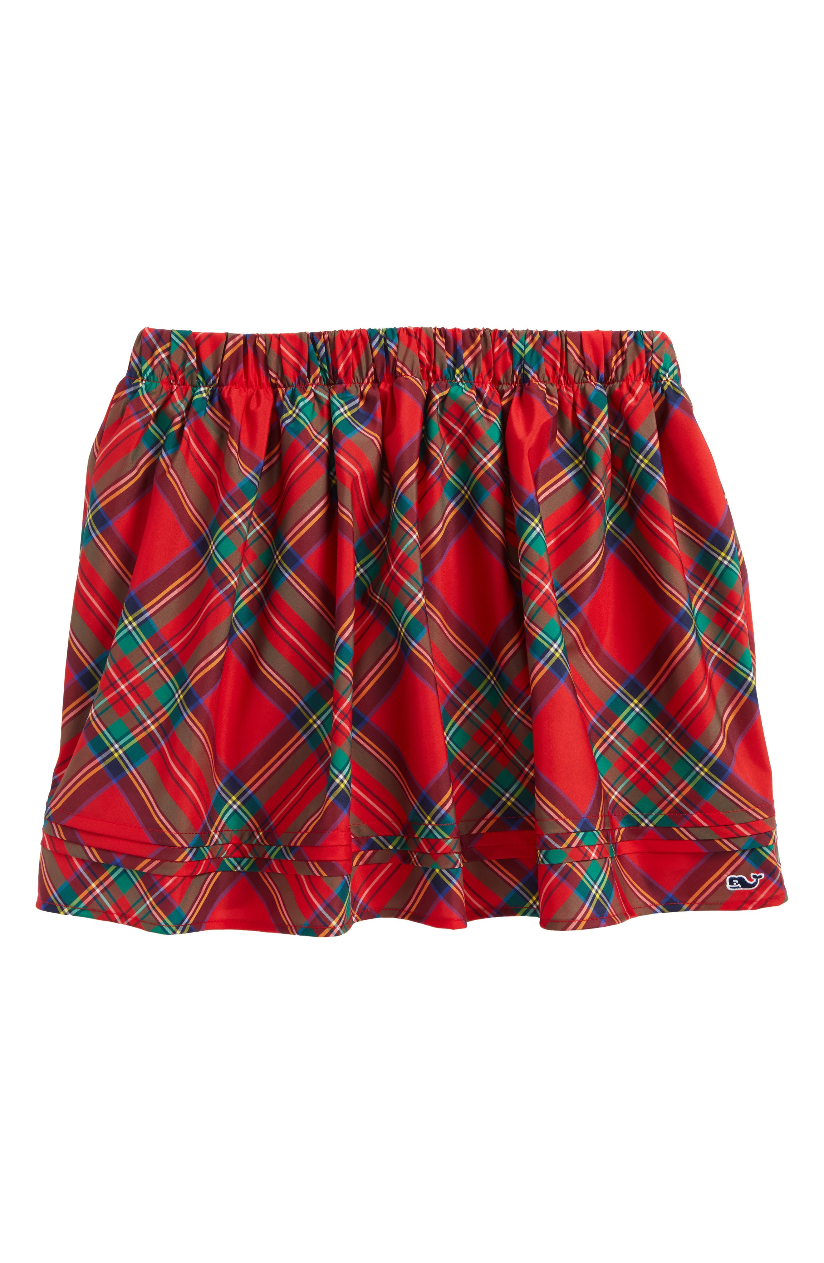 Jolly Plaid Holiday Skirt,                             Main thumbnail 1, color,                             Lighthouse Red