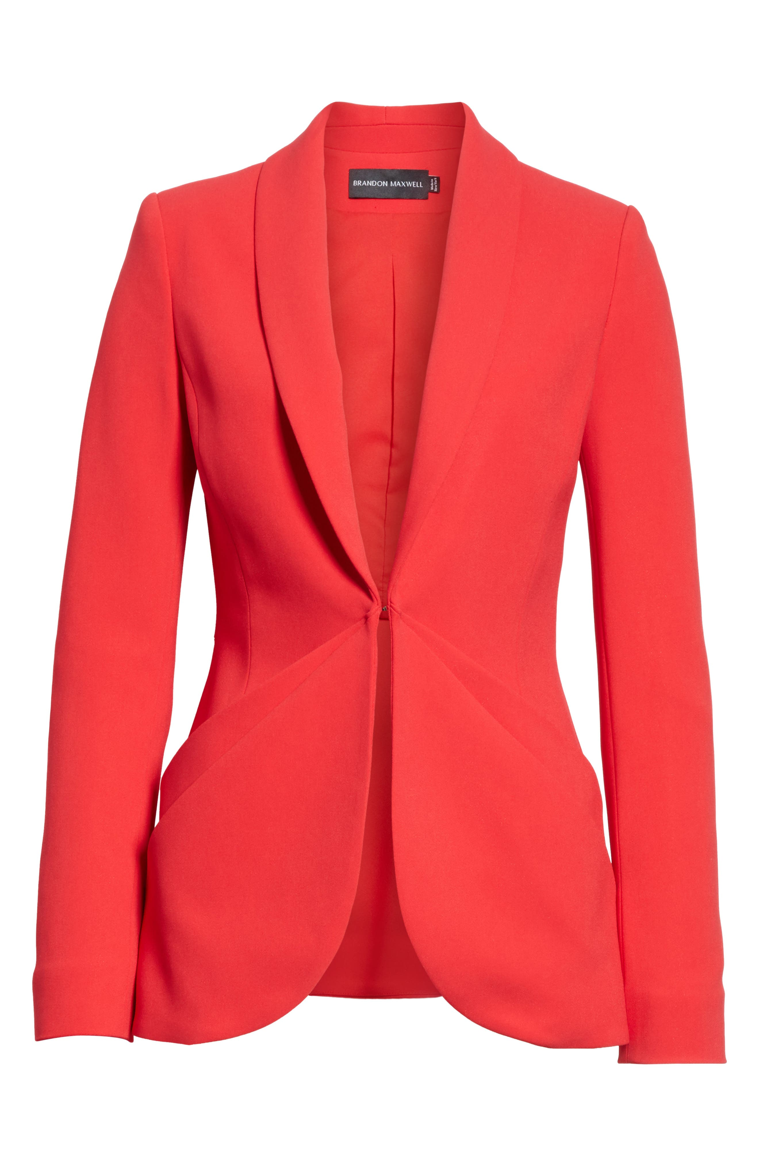 Drape Pocket Crepe Jacket,                             Alternate thumbnail 6, color,                             Red