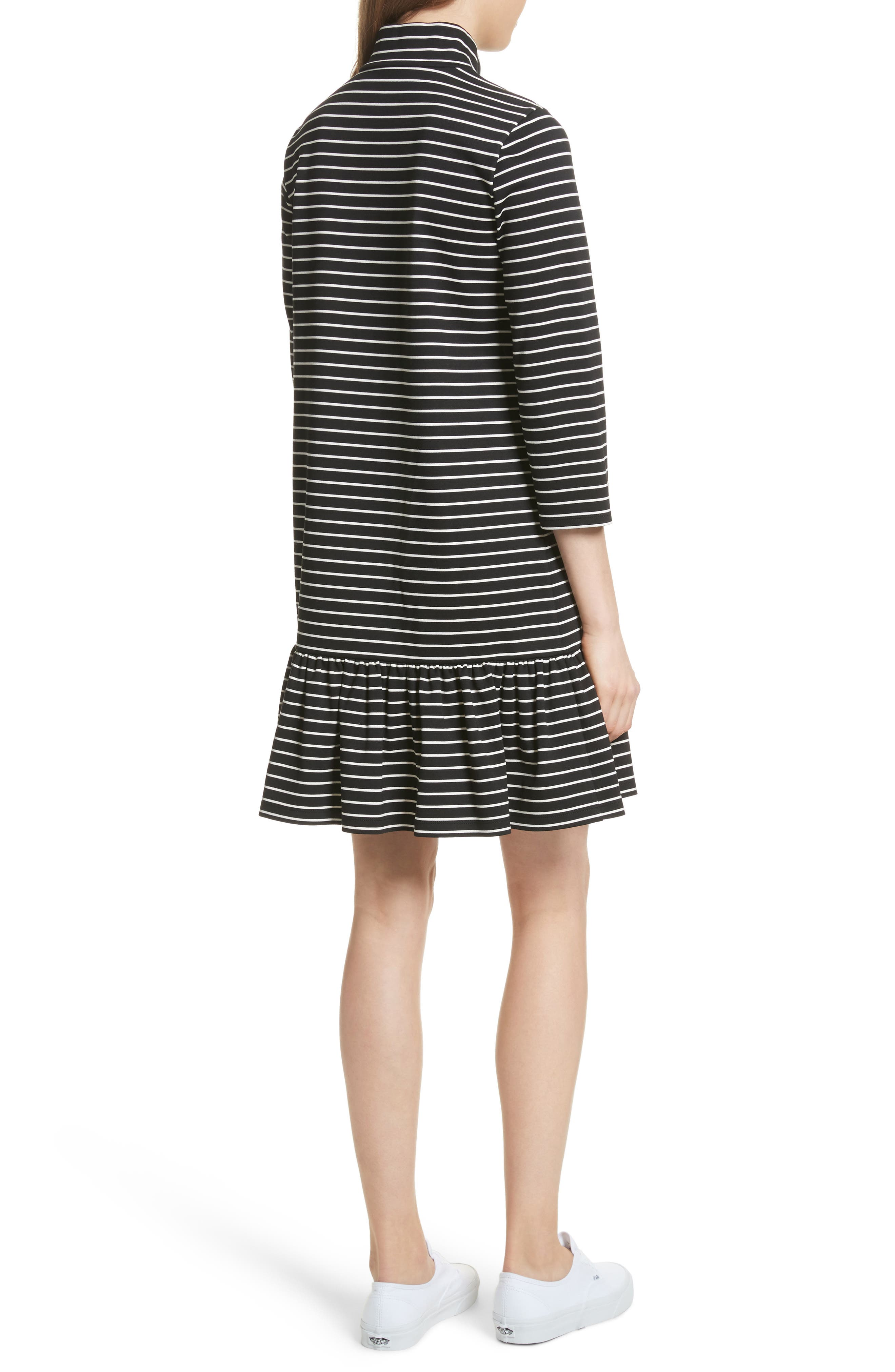 mock neck stripe knit dress,                             Alternate thumbnail 2, color,                             Black/ Off-White