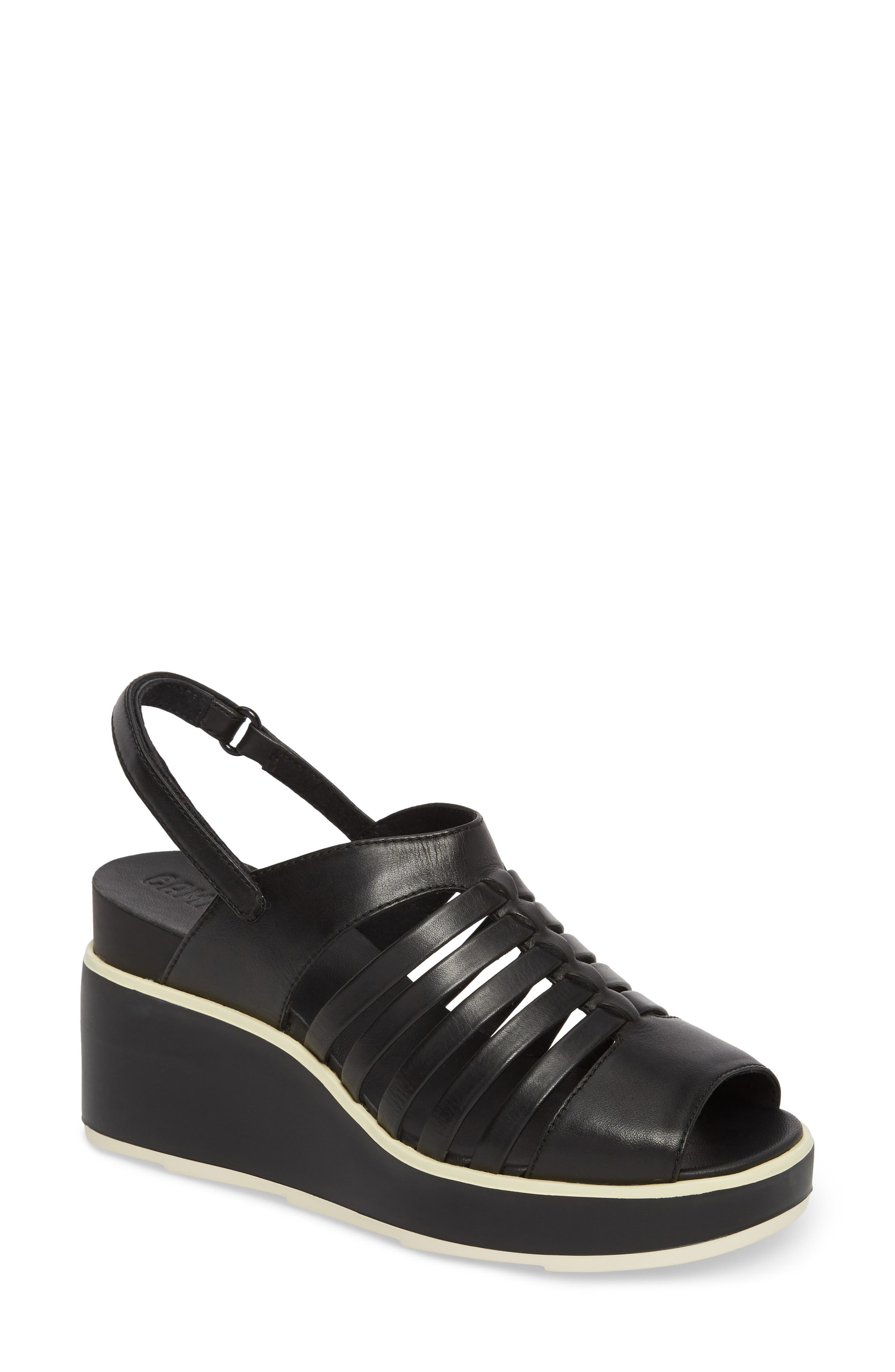 Tropik Strappy Wedge Sandal,                         Main,                         color, Black Leather