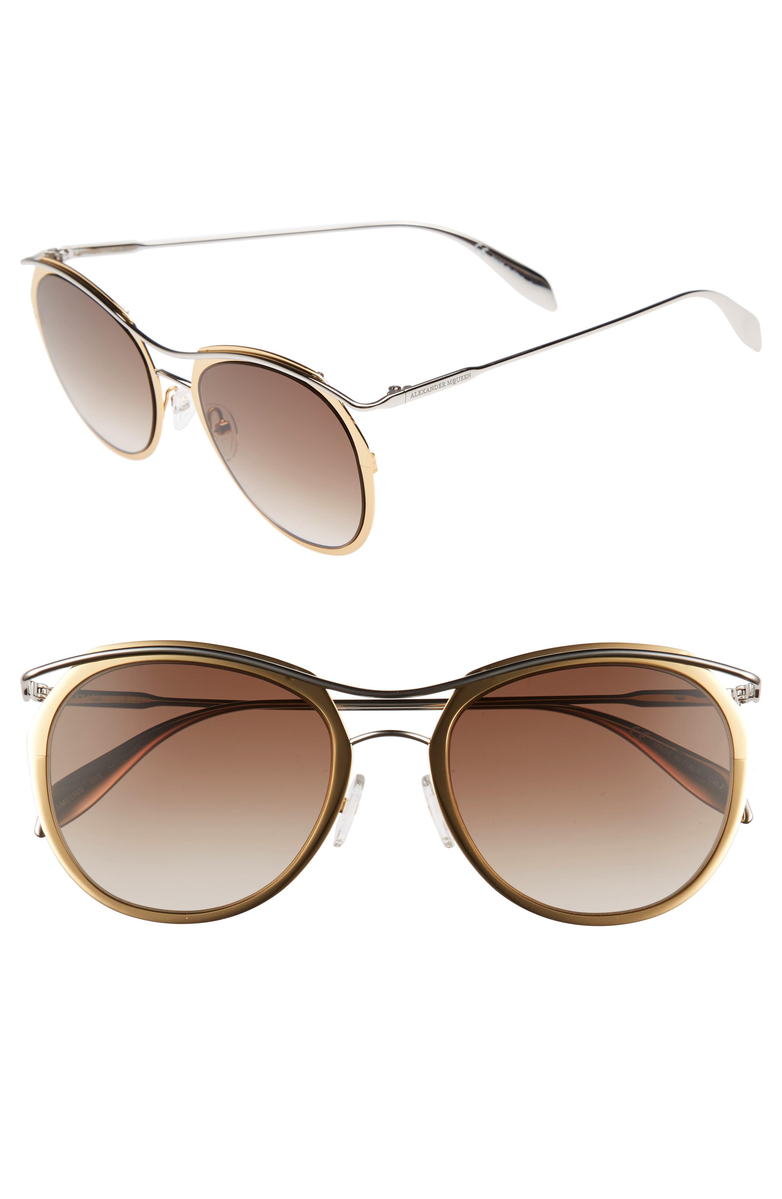 Alexander McQueen 54mm Gradient Round Sunglasses