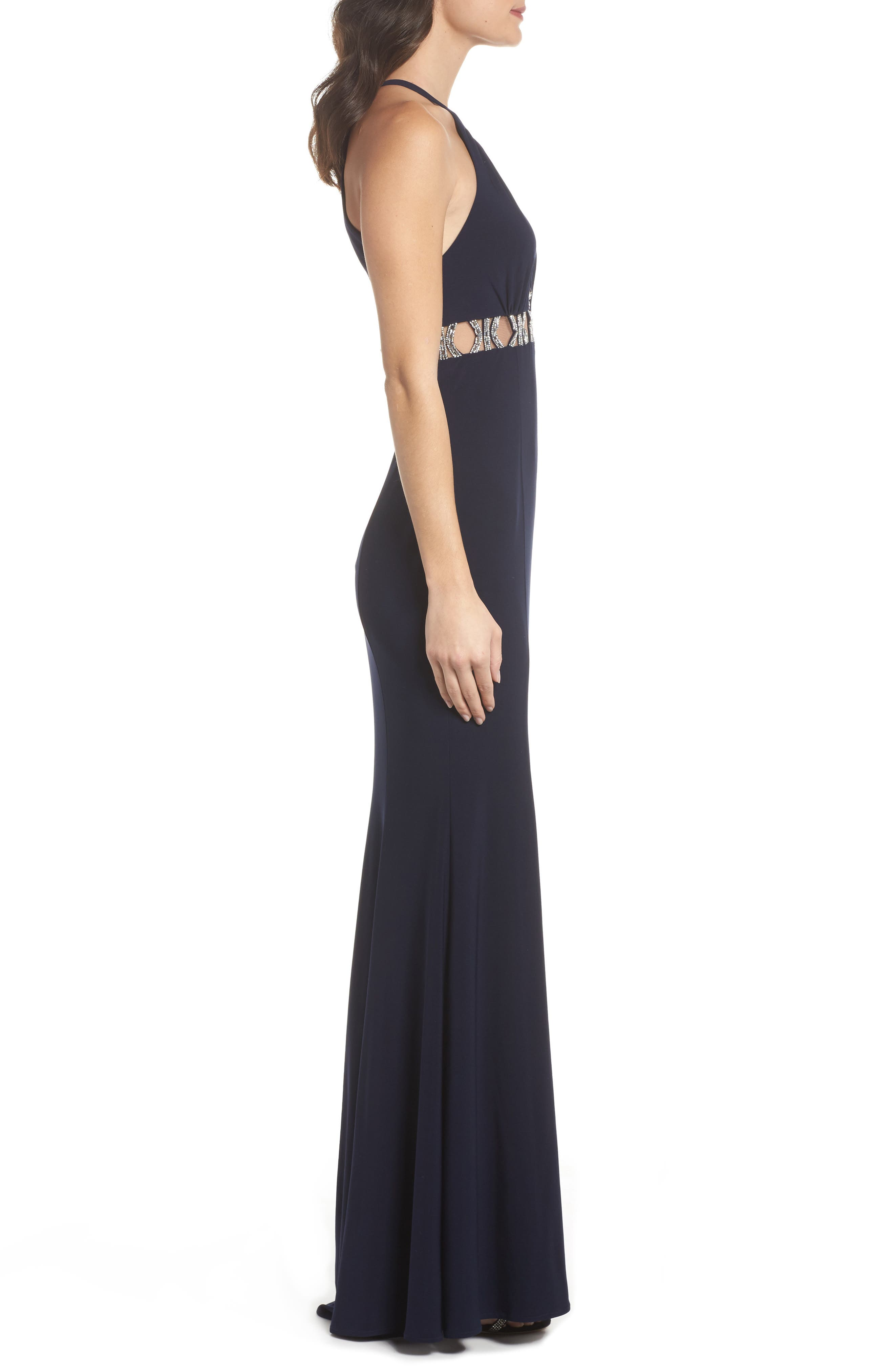 Embellished Halter Mermaid Gown,                             Alternate thumbnail 3, color,                             Navy/ Silver
