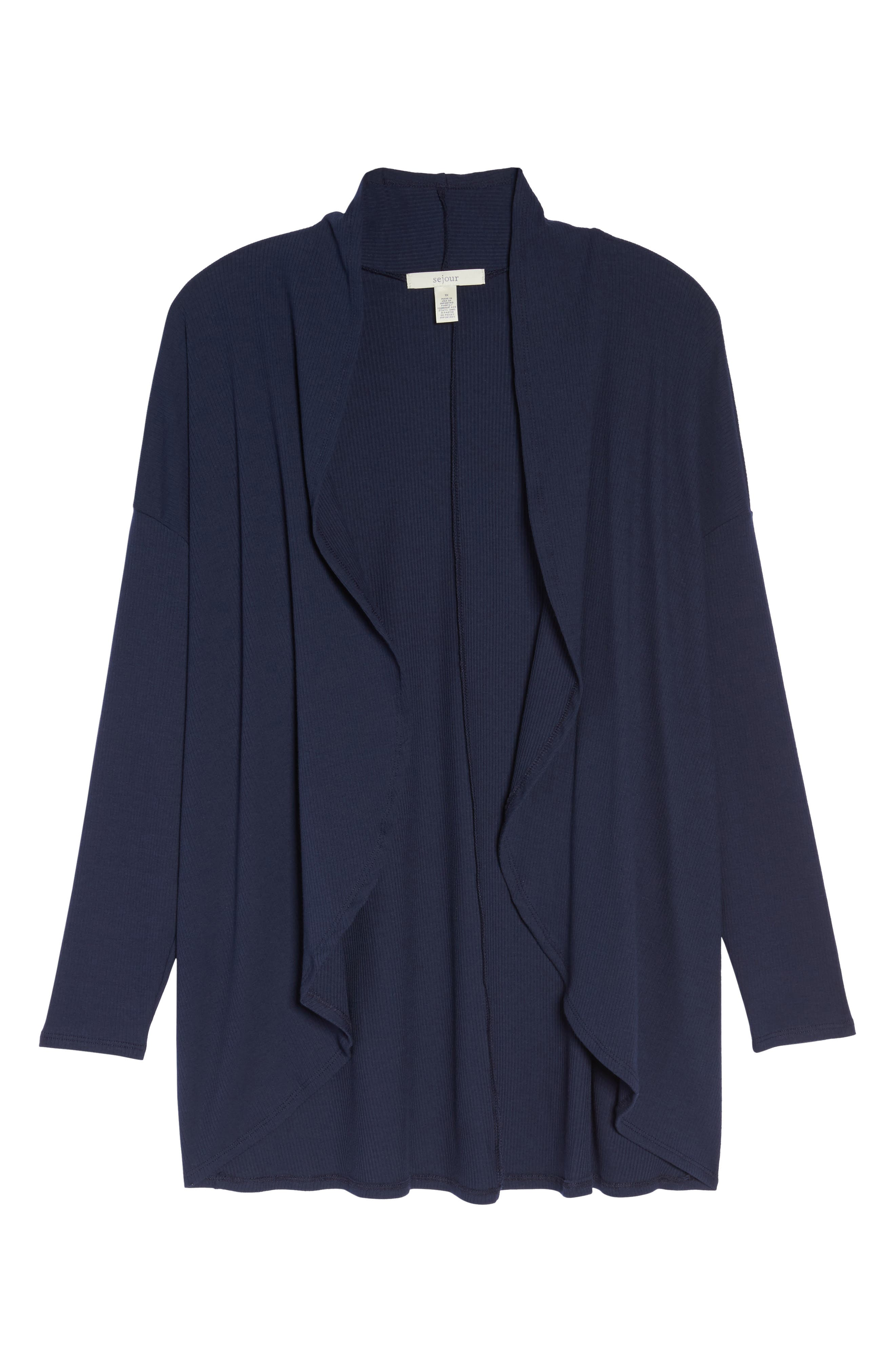 Ribbed Cocoon Cardigan,                             Alternate thumbnail 6, color,                             Navy Peacoat