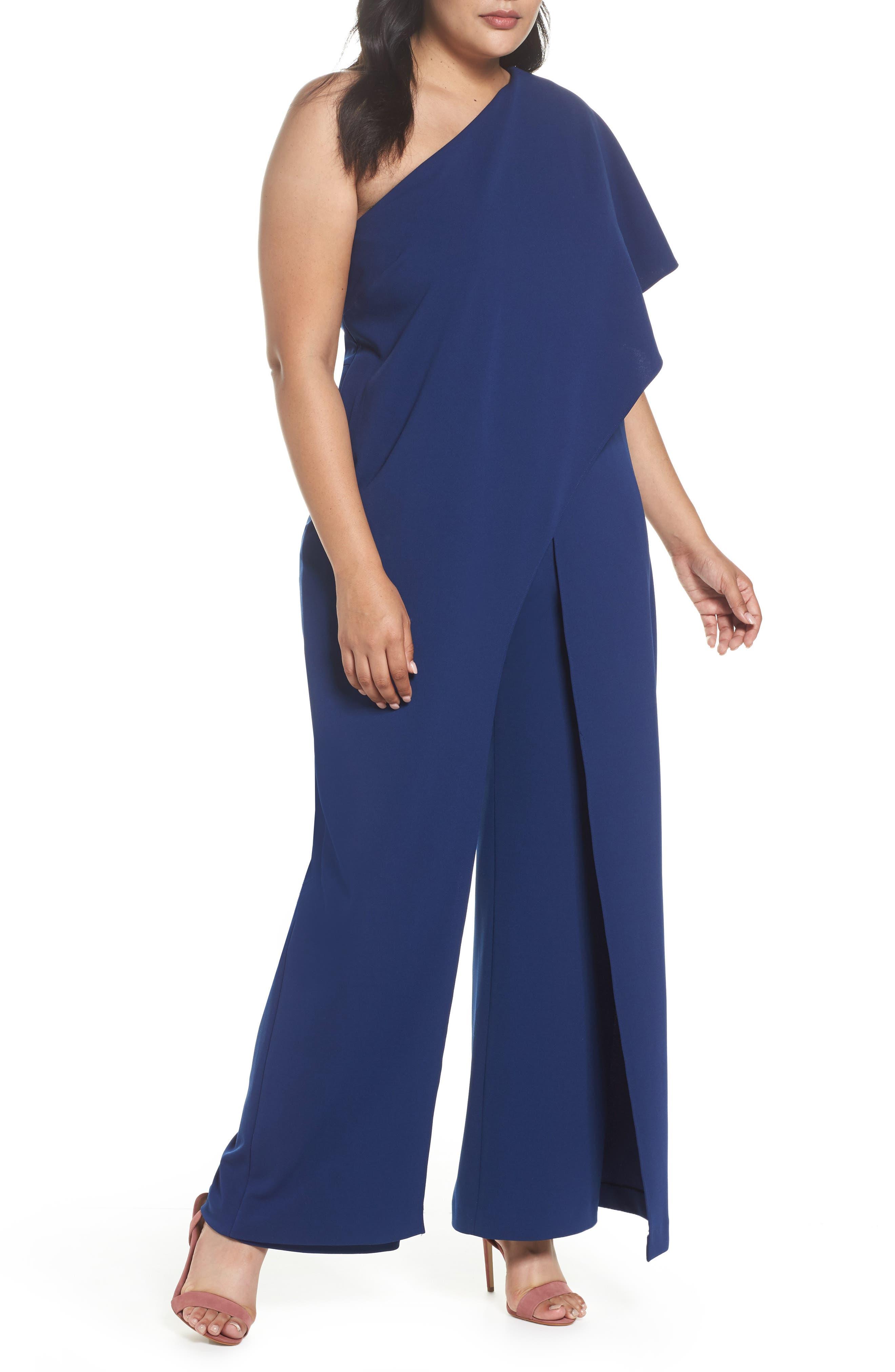 One-Shoulder Jumpsuit,                         Main,                         color, Navy