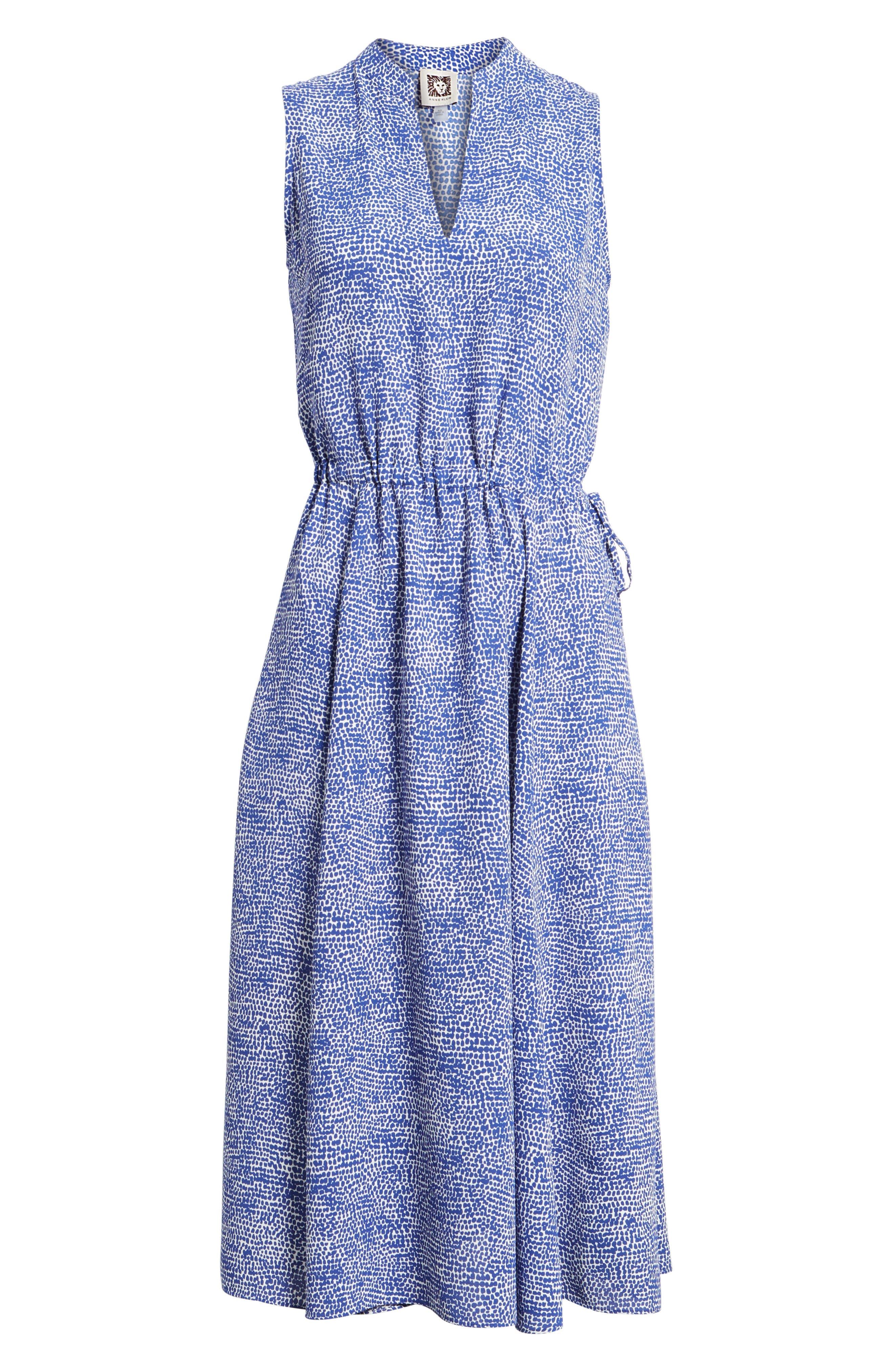 Print Drawstring Midi Dress,                             Alternate thumbnail 6, color,                             O Keefe Blue/ White Combo