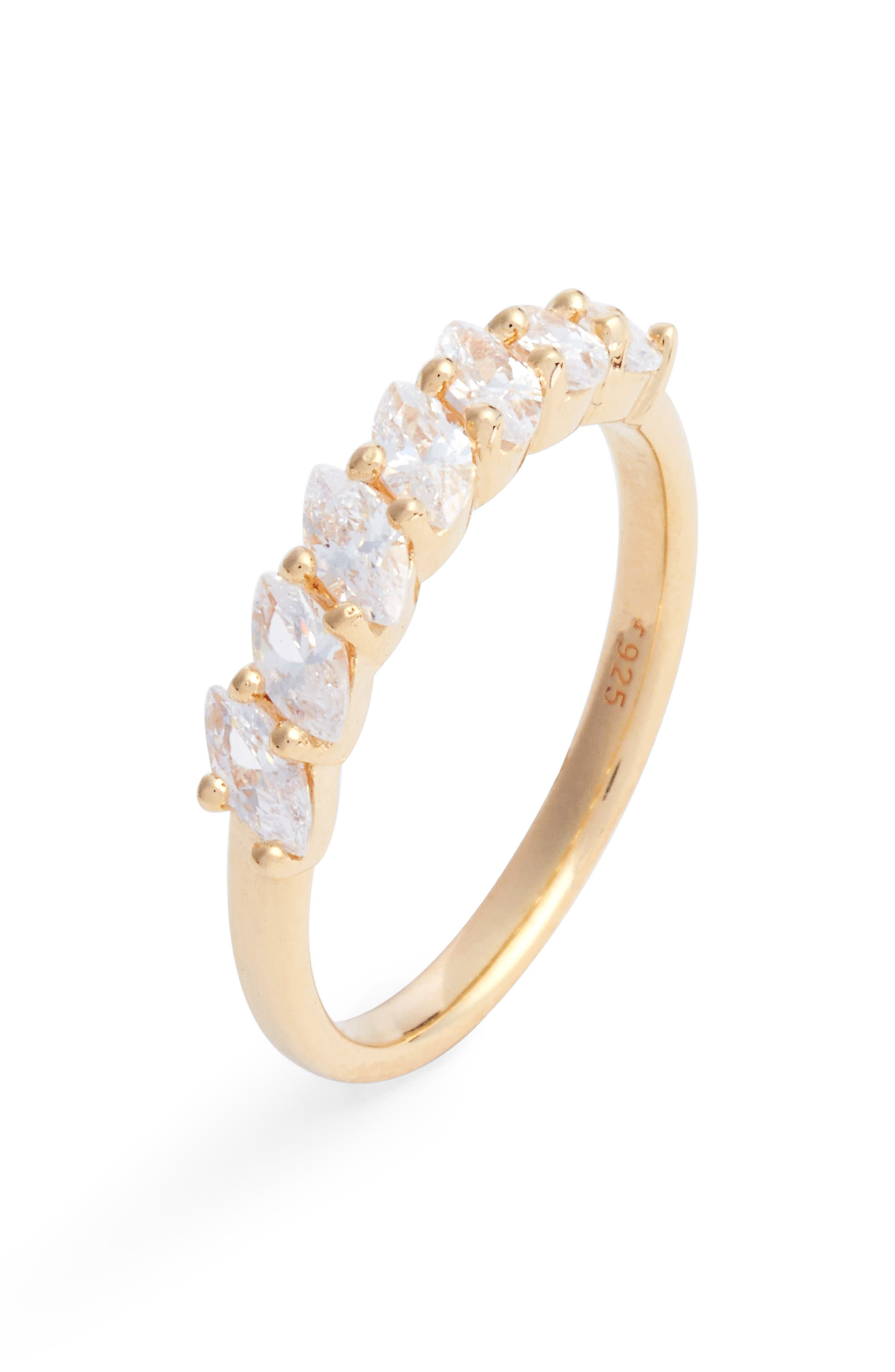Marquise Cubic Zirconia Ring,                         Main,                         color, Gold