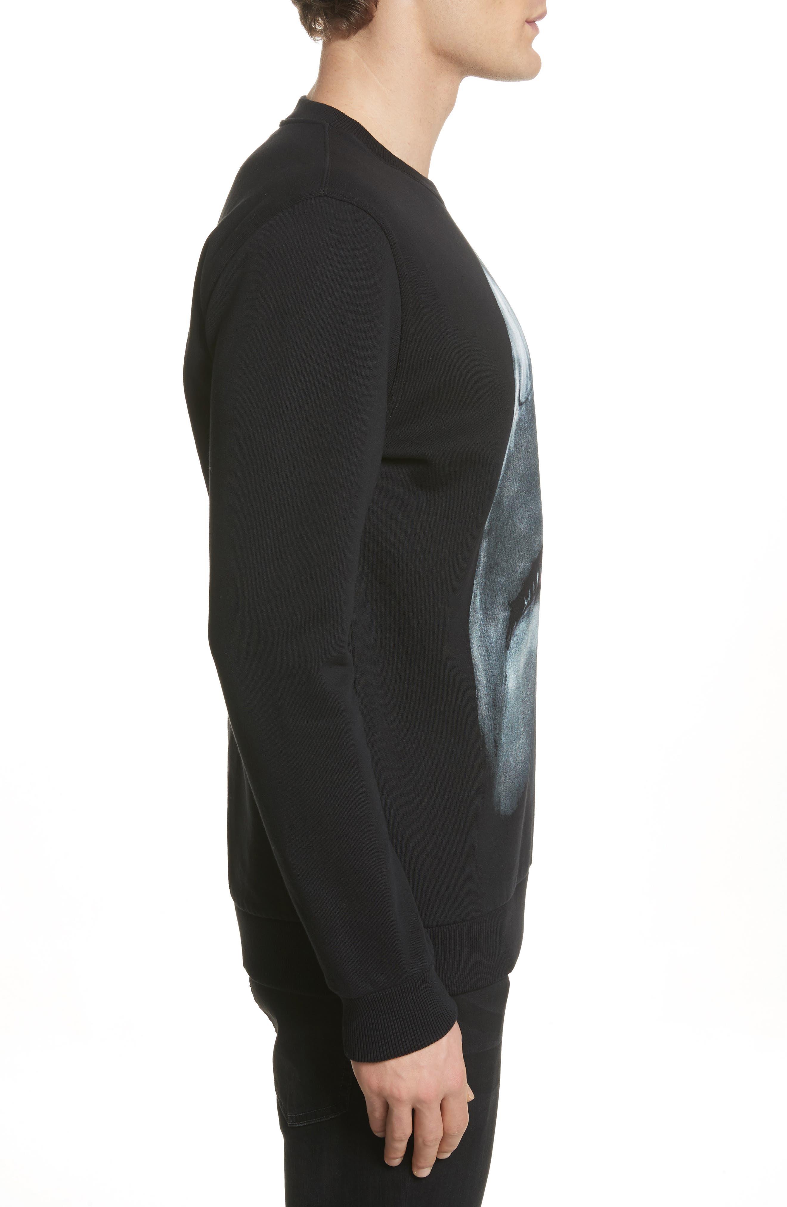 Shark Print Crewneck Sweatshirt,                             Alternate thumbnail 3, color,                             Black