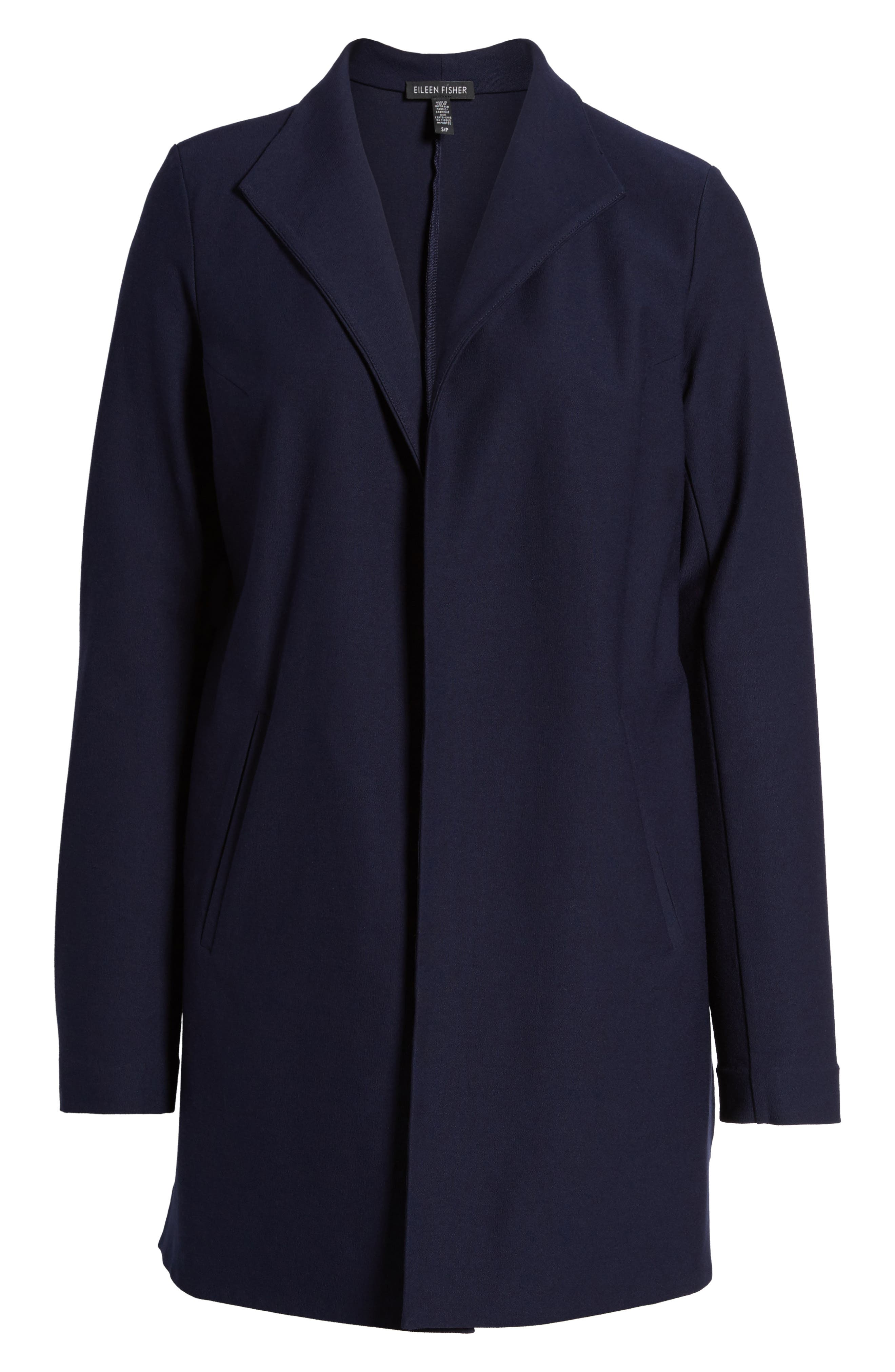 Long Knit Jacket,                             Alternate thumbnail 5, color,                             Midnight