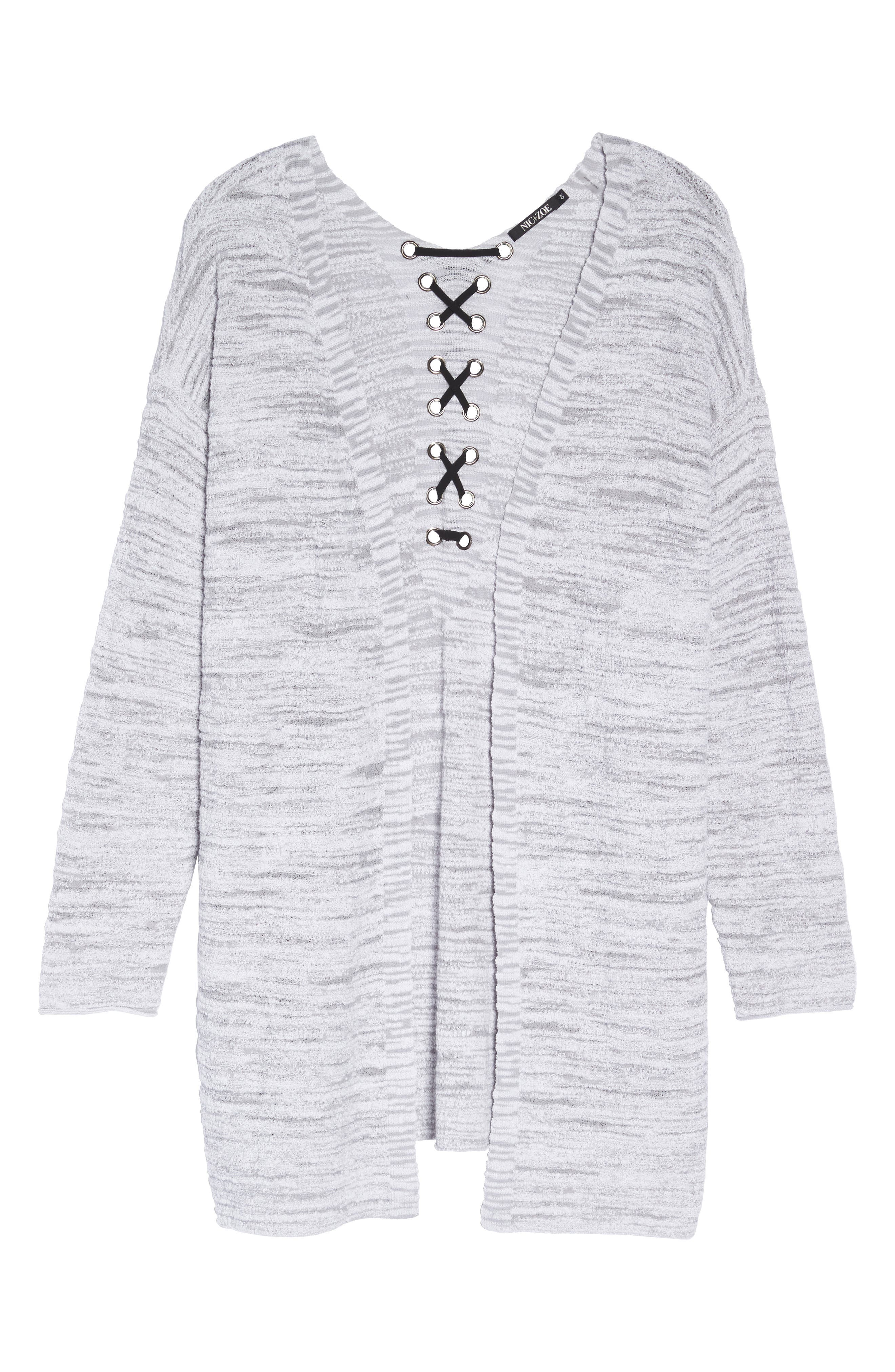 Lace It Back Cardigan,                             Alternate thumbnail 6, color,                             Icy Grey