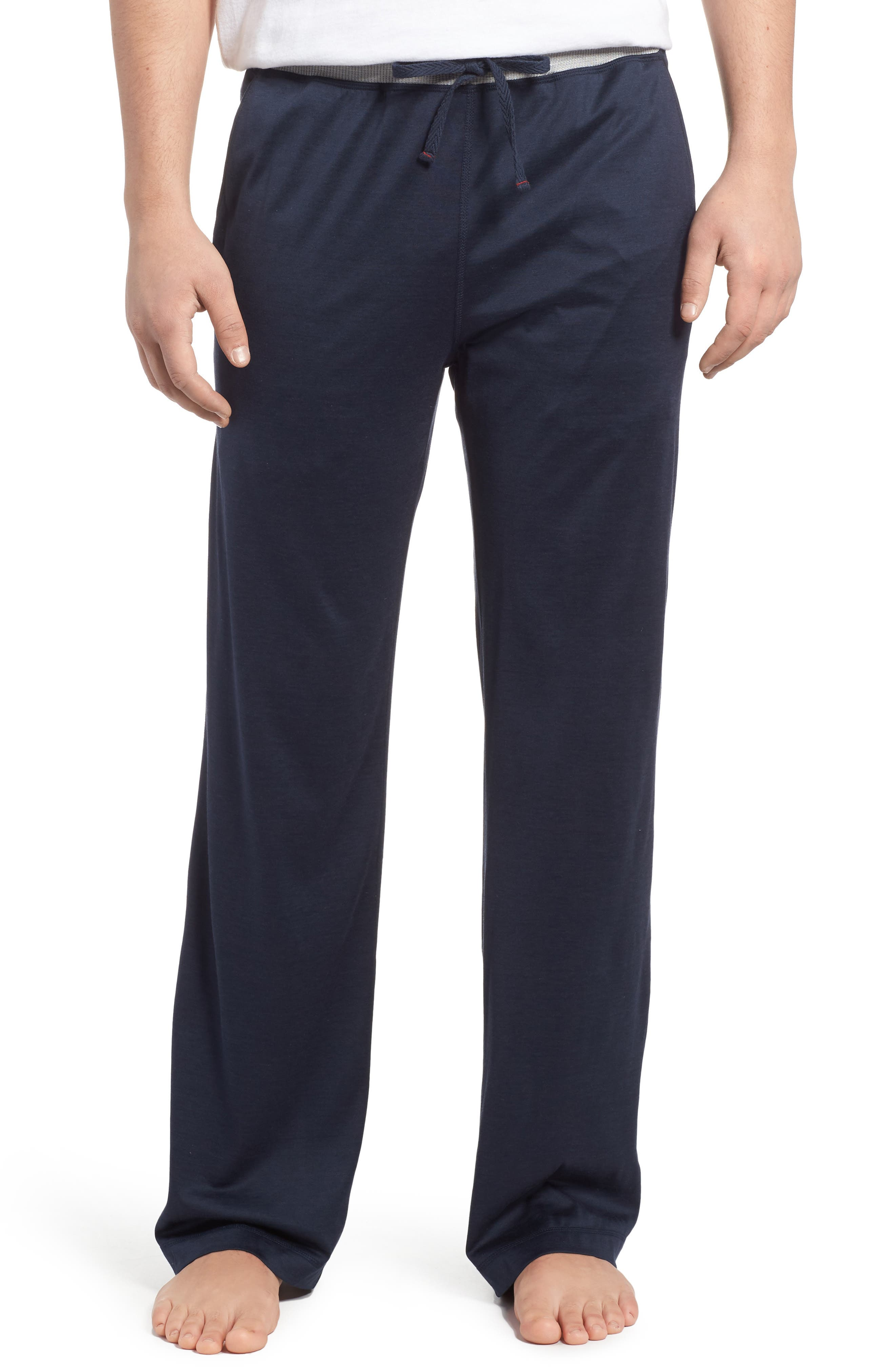 Silk & Cotton Lounge Pants,                         Main,                         color, Midnight