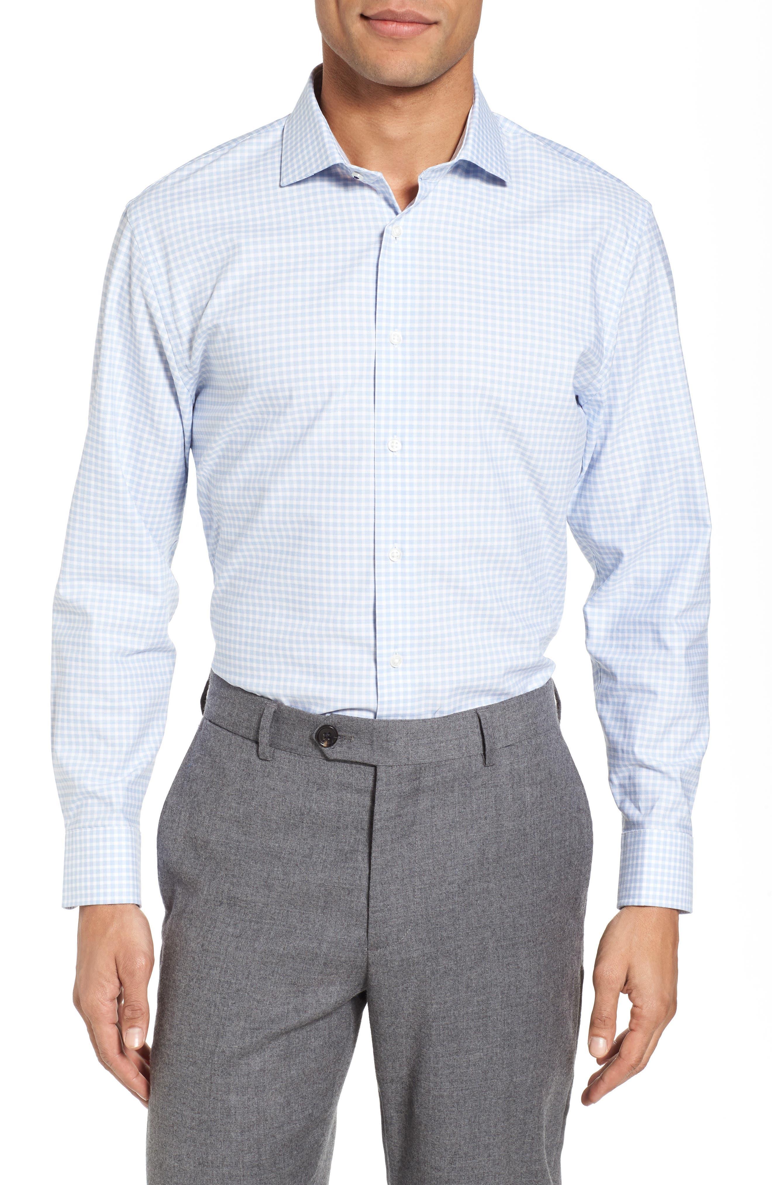 Tech-Smart Trim Fit Stretch Check Dress Shirt,                             Main thumbnail 1, color,                             Blue Brunerra
