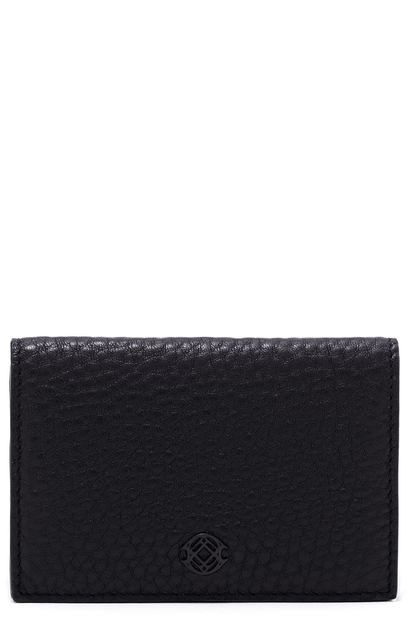 Accordion Leather Card Case,                         Main,                         color, Onyx