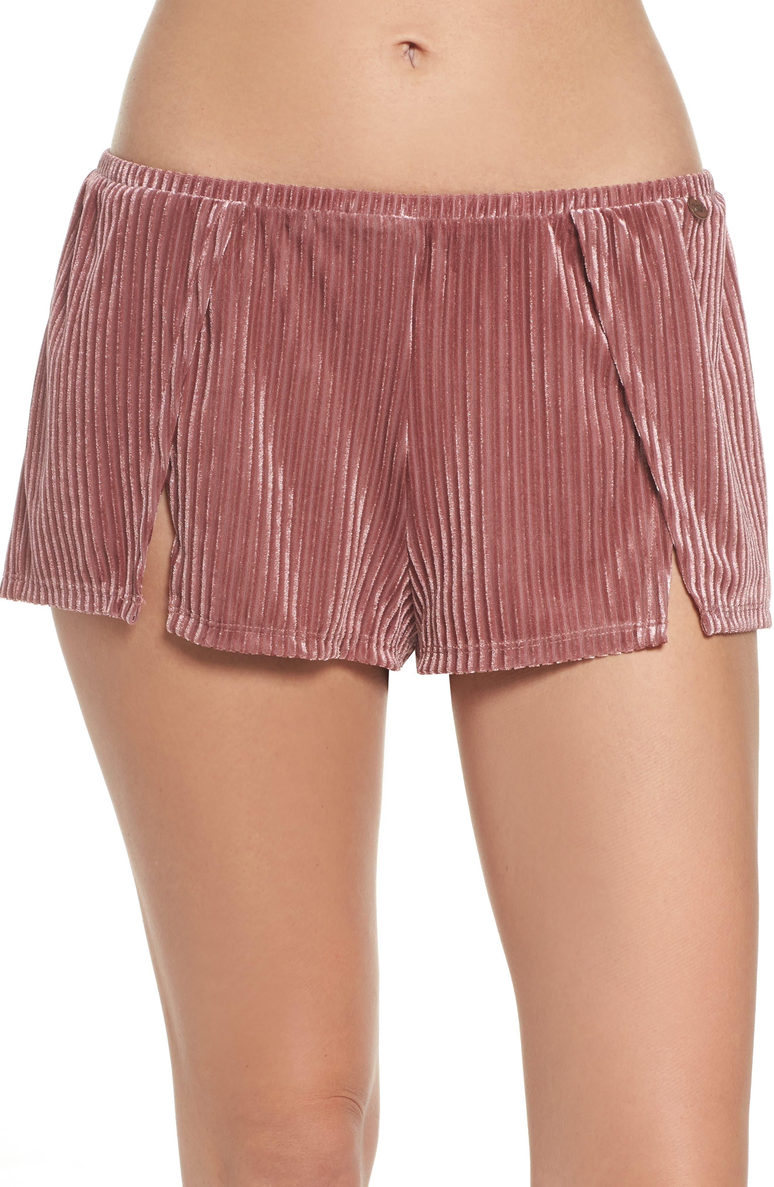 Velvet Pajama Shorts,                         Main,                         color, Rose