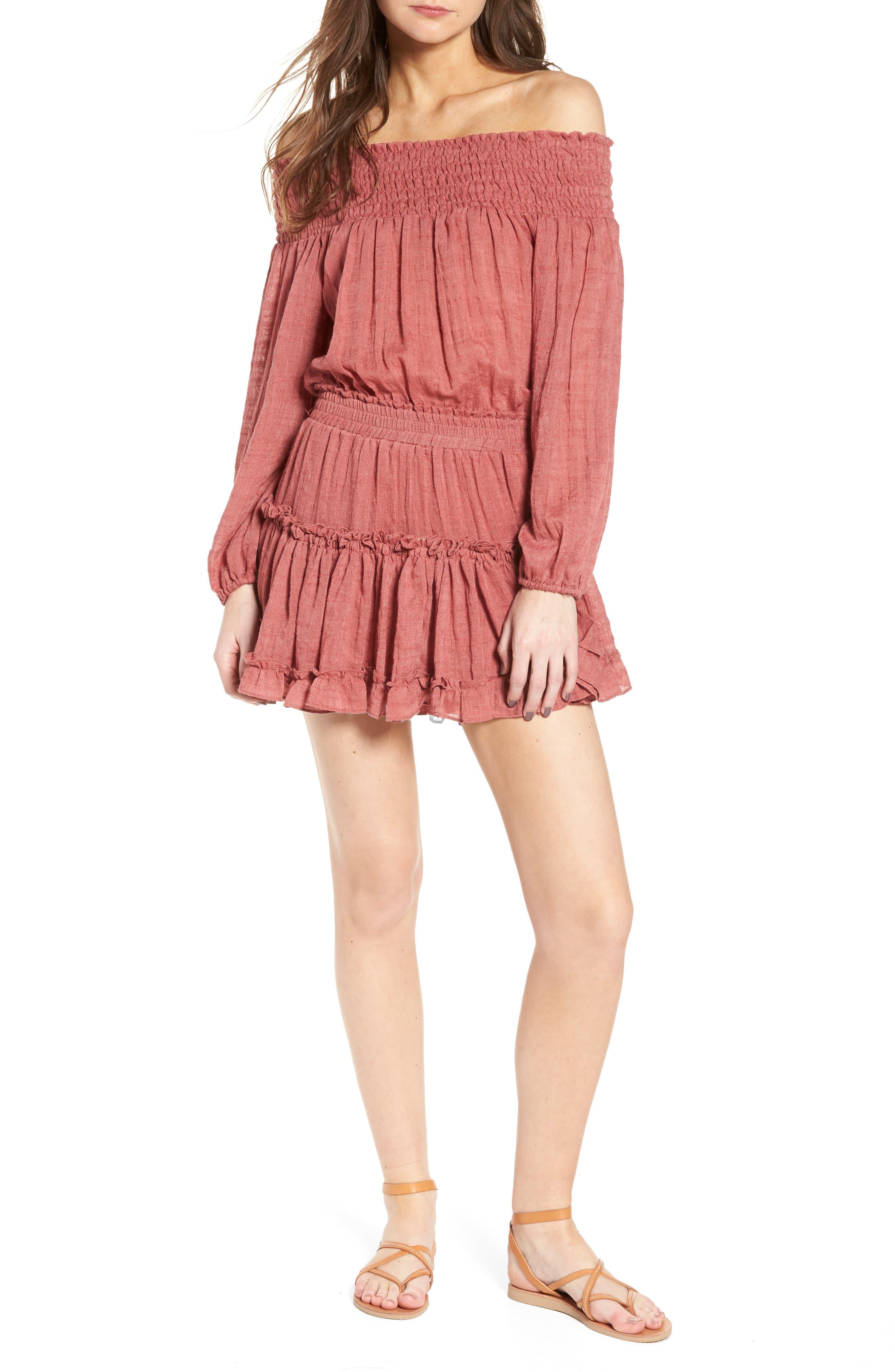 Darla Off the Shoulder Minidress,                         Main,                         color, Brick