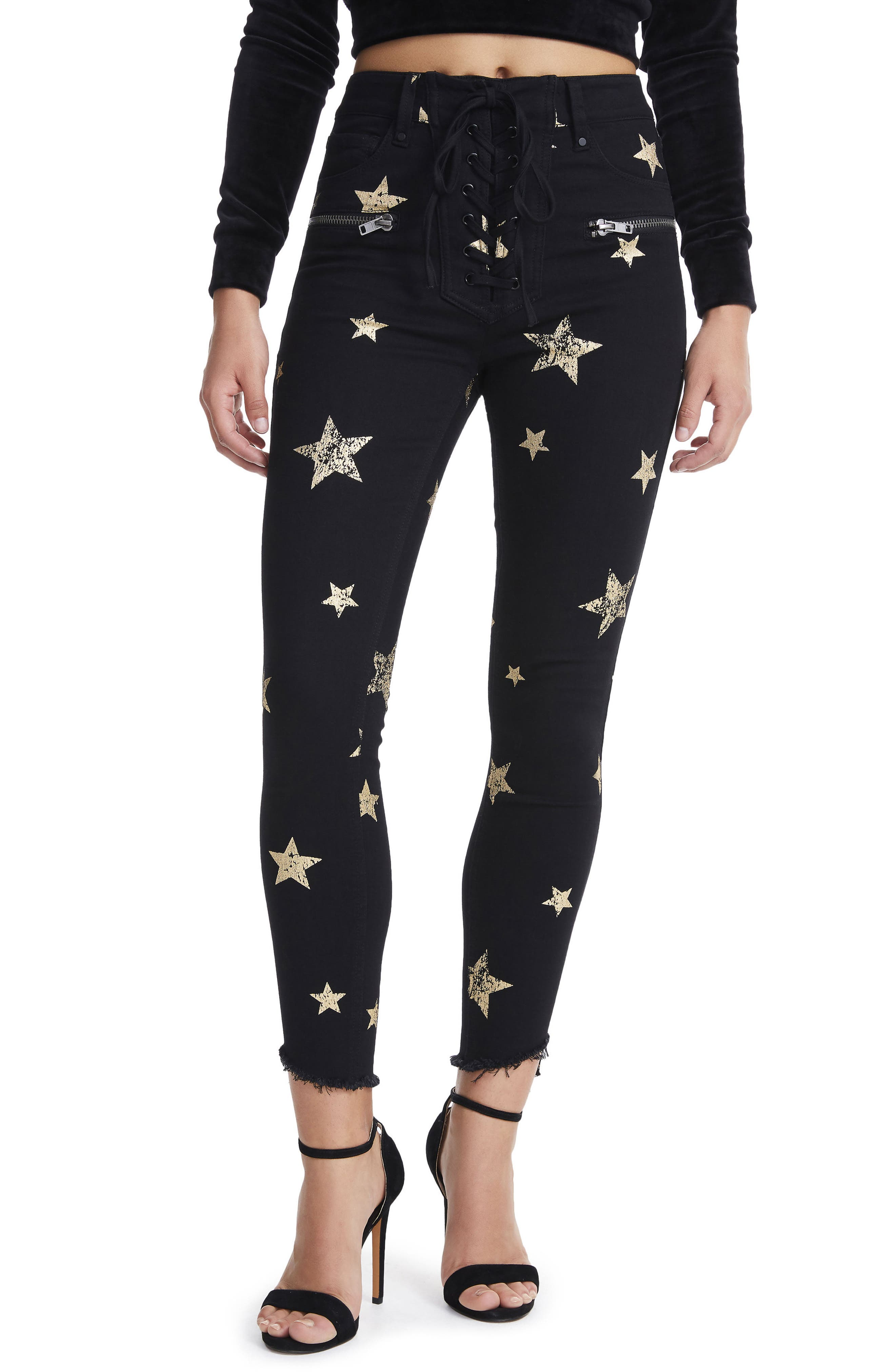 Kit Lace-Up High Waist Ankle Skinny Jeans,                         Main,                         color, Rock Star