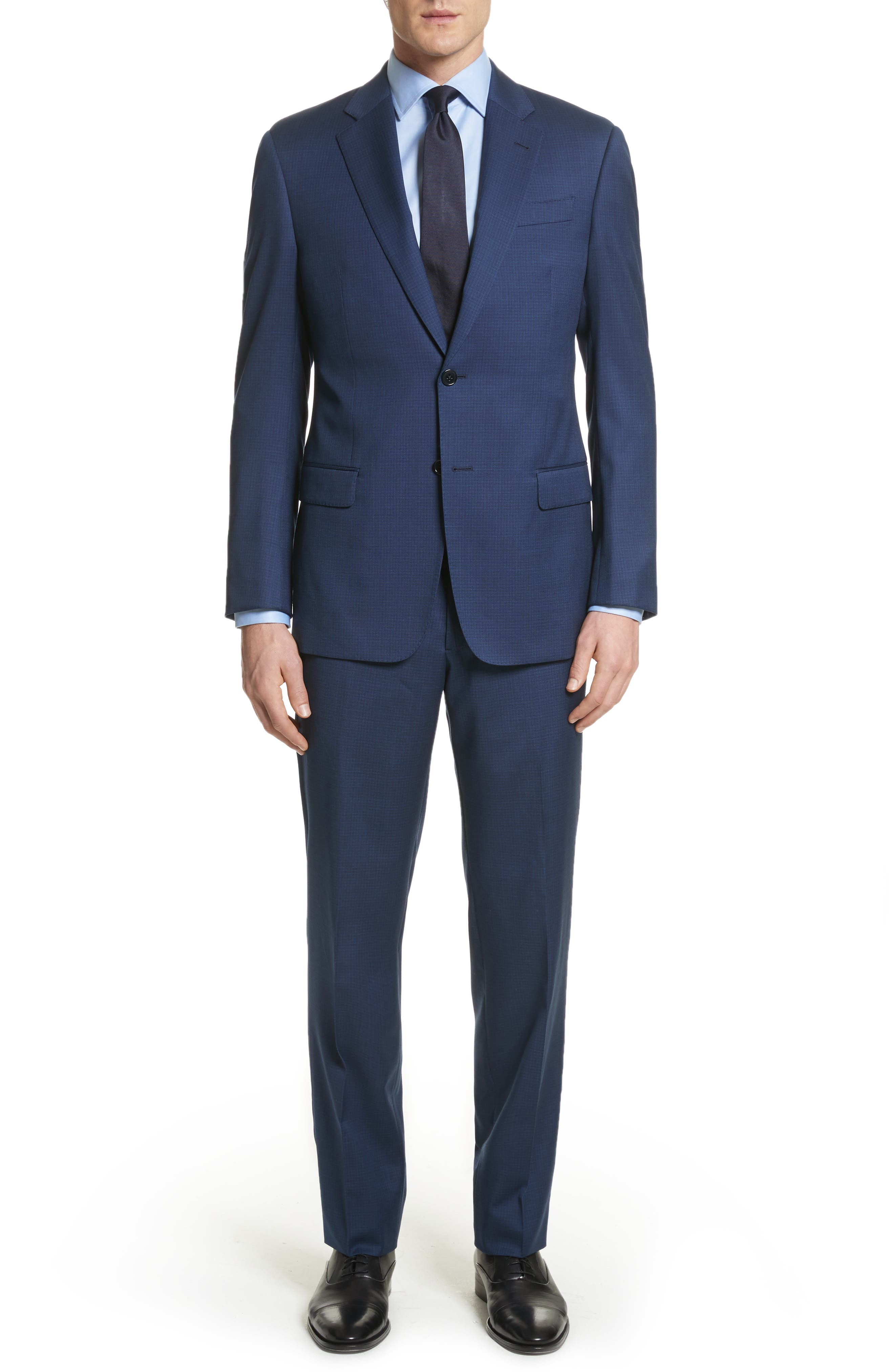 G Line Trim Fit Check Wool Suit,                             Main thumbnail 1, color,                             Navy